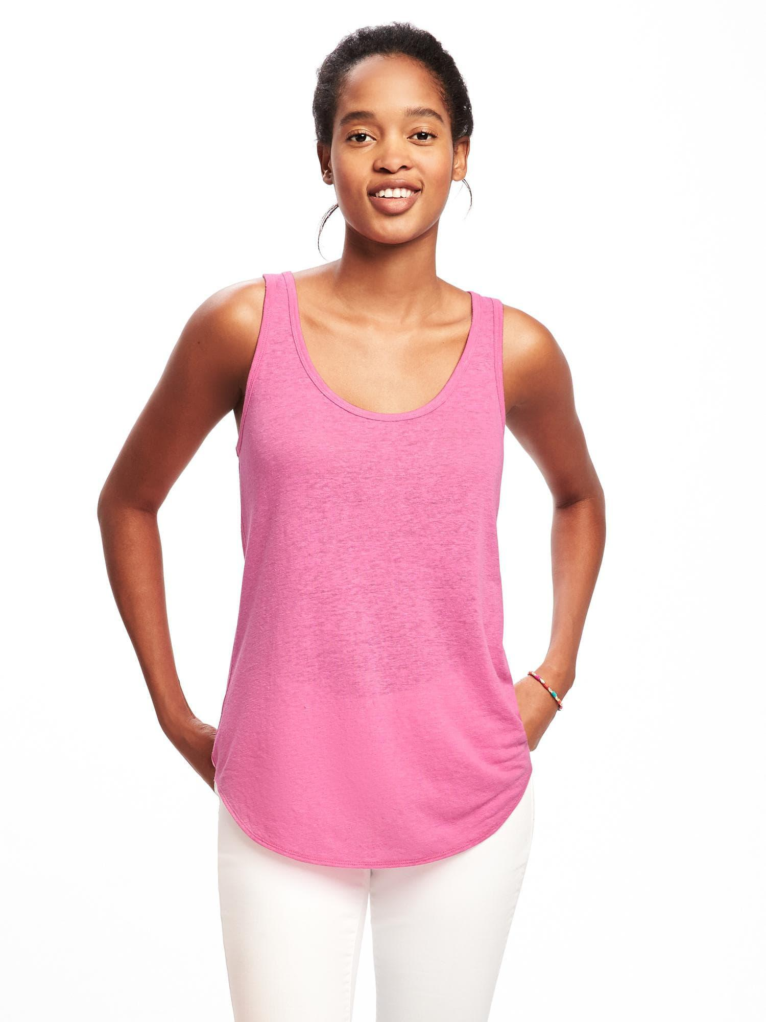 88f87c3f0d729 Lyst - Old Navy Relaxed Linen-blend Curved-hem Tank in Pink