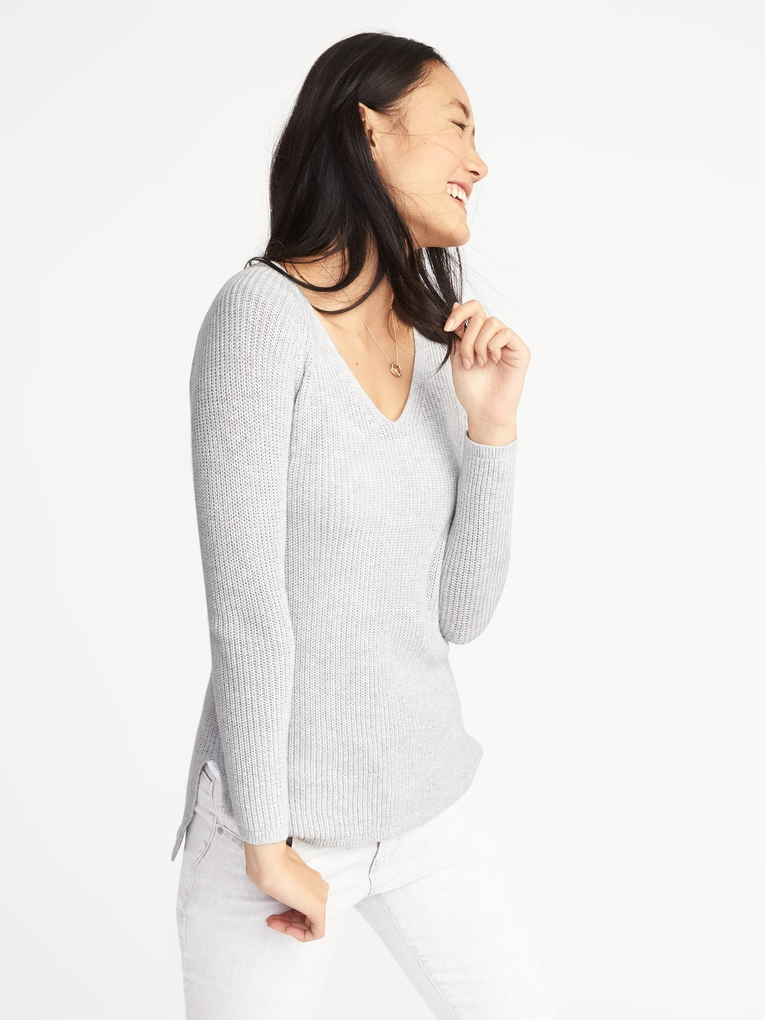 91d24e62d3 Lyst - Old Navy Shaker-stitch V-neck Sweater in Gray