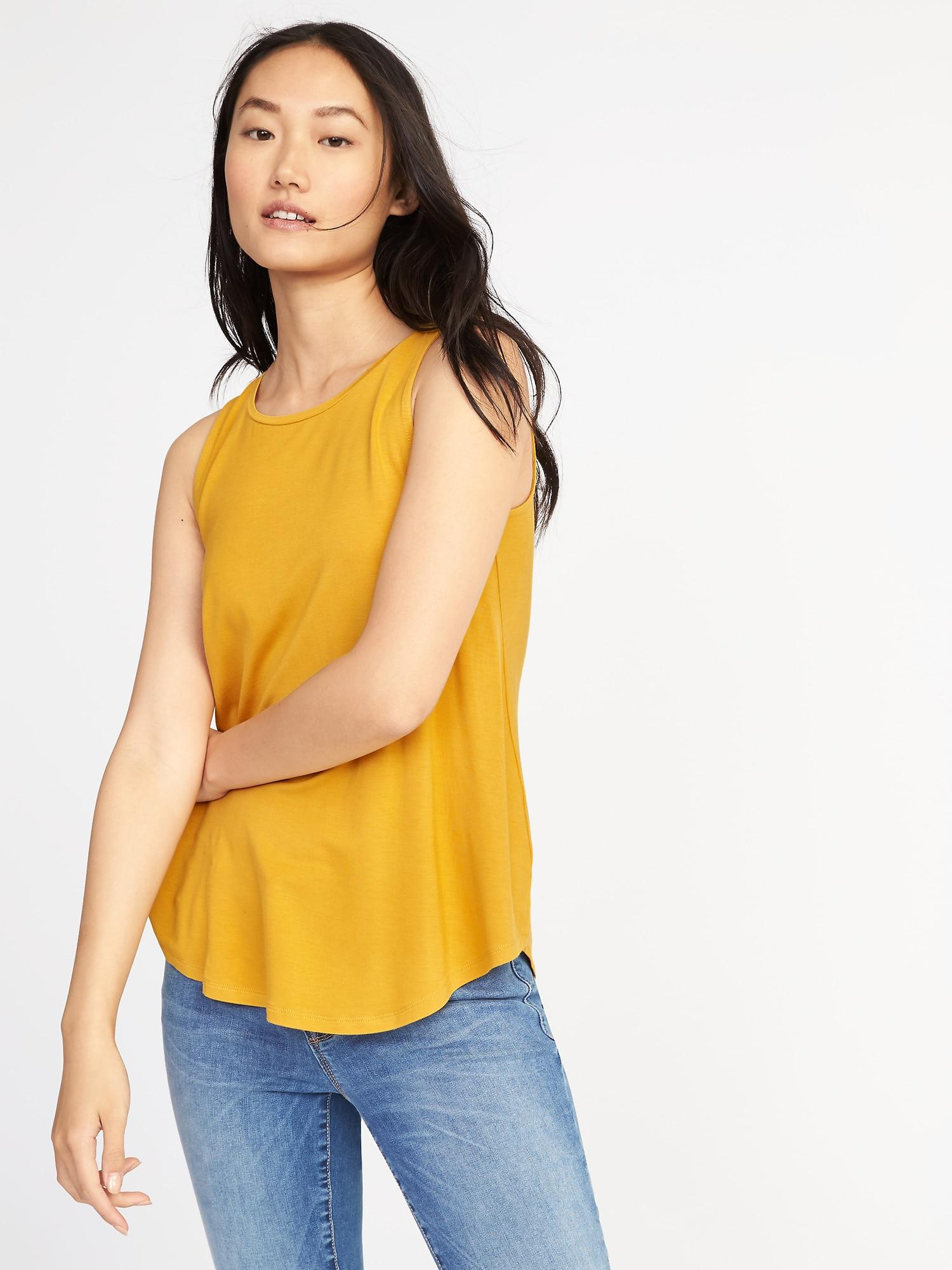 6c54200cd2669 Lyst - Old Navy Luxe High-neck Swing Tank in Yellow