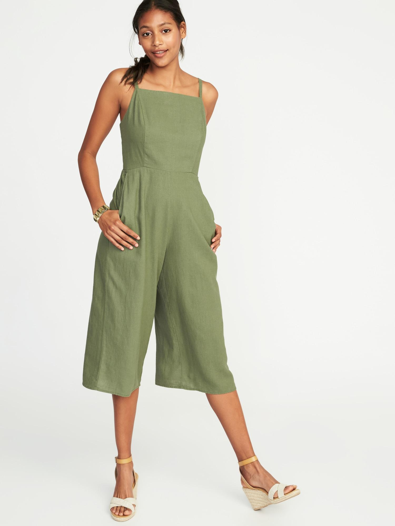 a6d3a858bee Lyst - Old Navy Waist-defined Square-neck Linen-blend Jumpsuit in Green