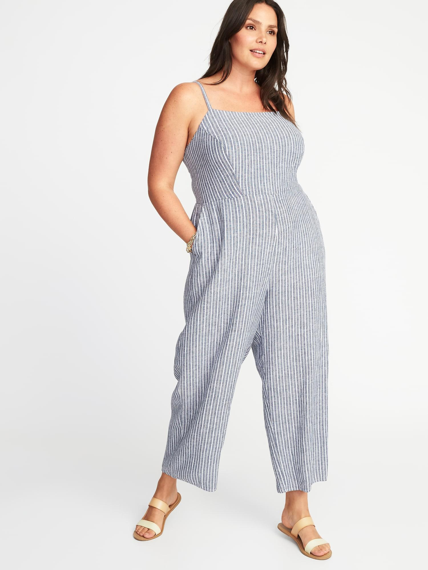 720b784cdd23 Lyst - Old Navy Plus-size Striped Square-neck Jumpsuit in Blue