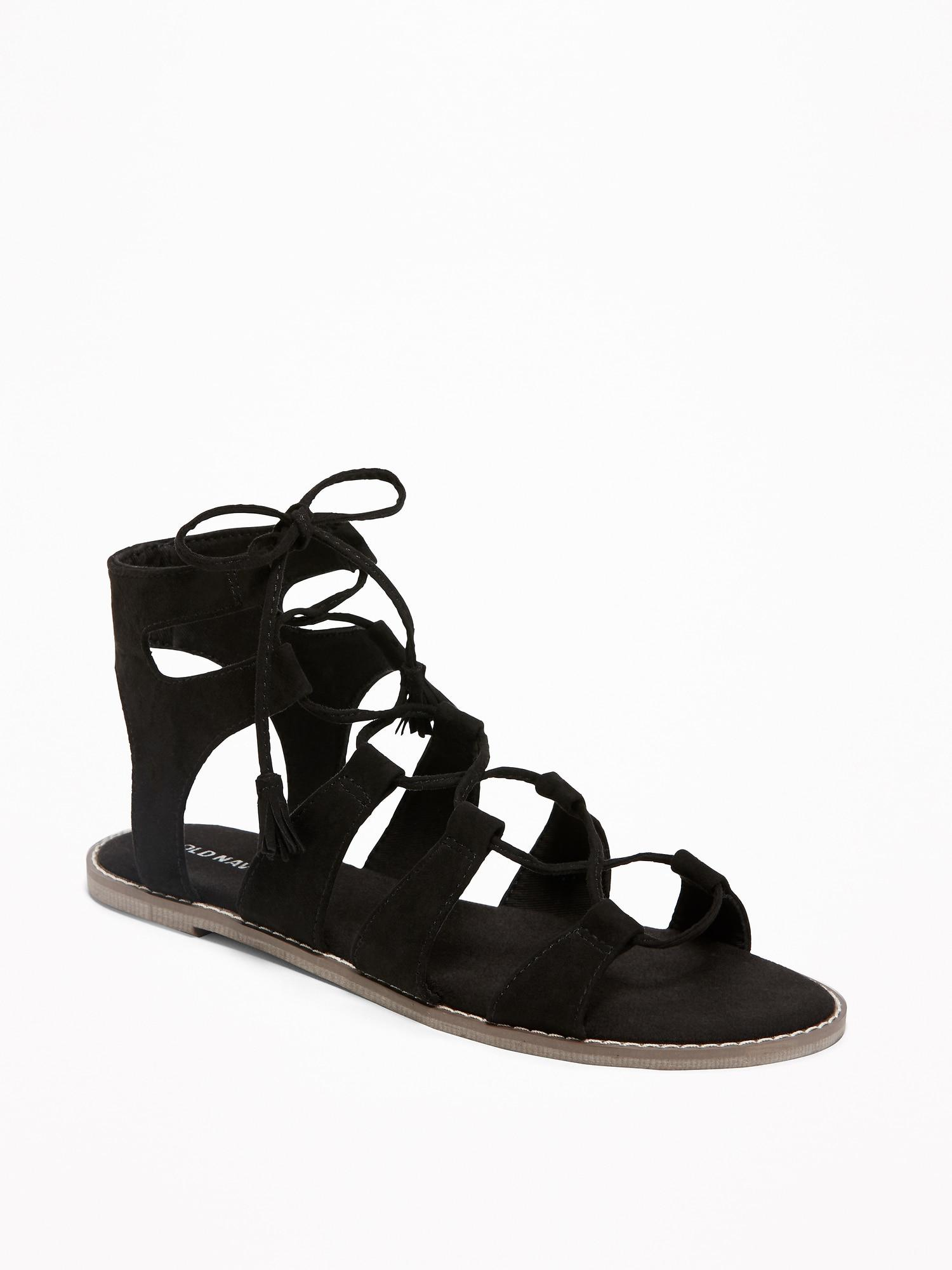 f98b918c9d17 Old Navy - Black Lace-up Gladiator Sandals - Lyst. View fullscreen