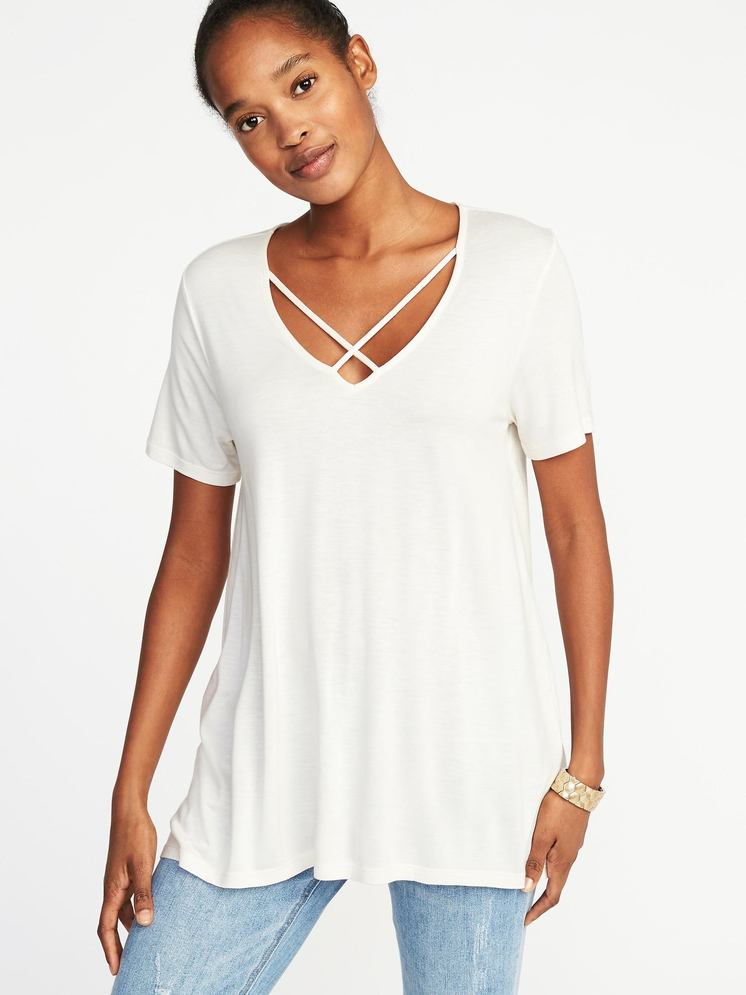 e29369bf307c Old Navy Lace-up-yoke Swing Top in White - Lyst