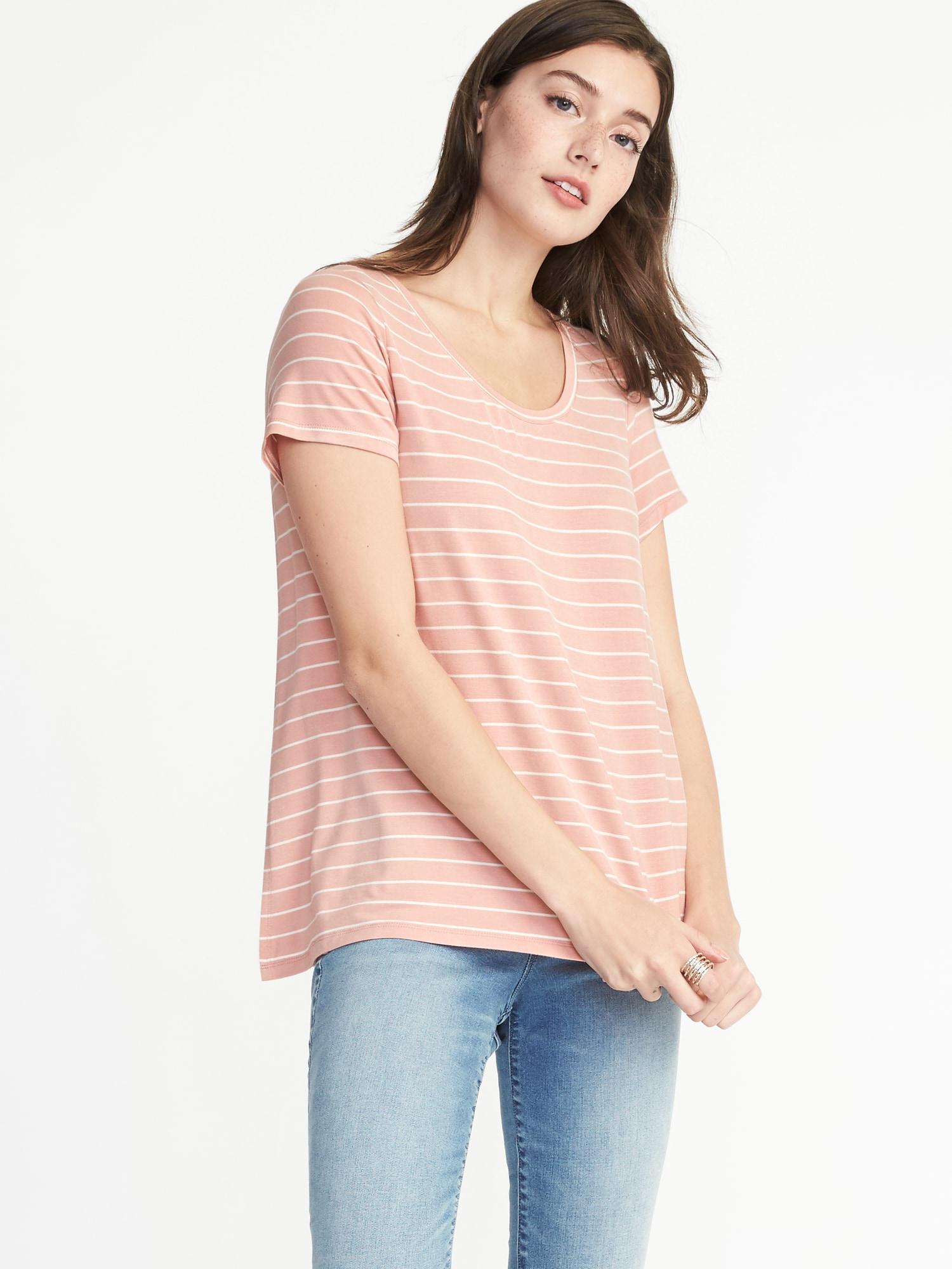 67f940827c3 Old Navy Maternity Striped Side-slit Jersey Nursing Top in Pink - Lyst