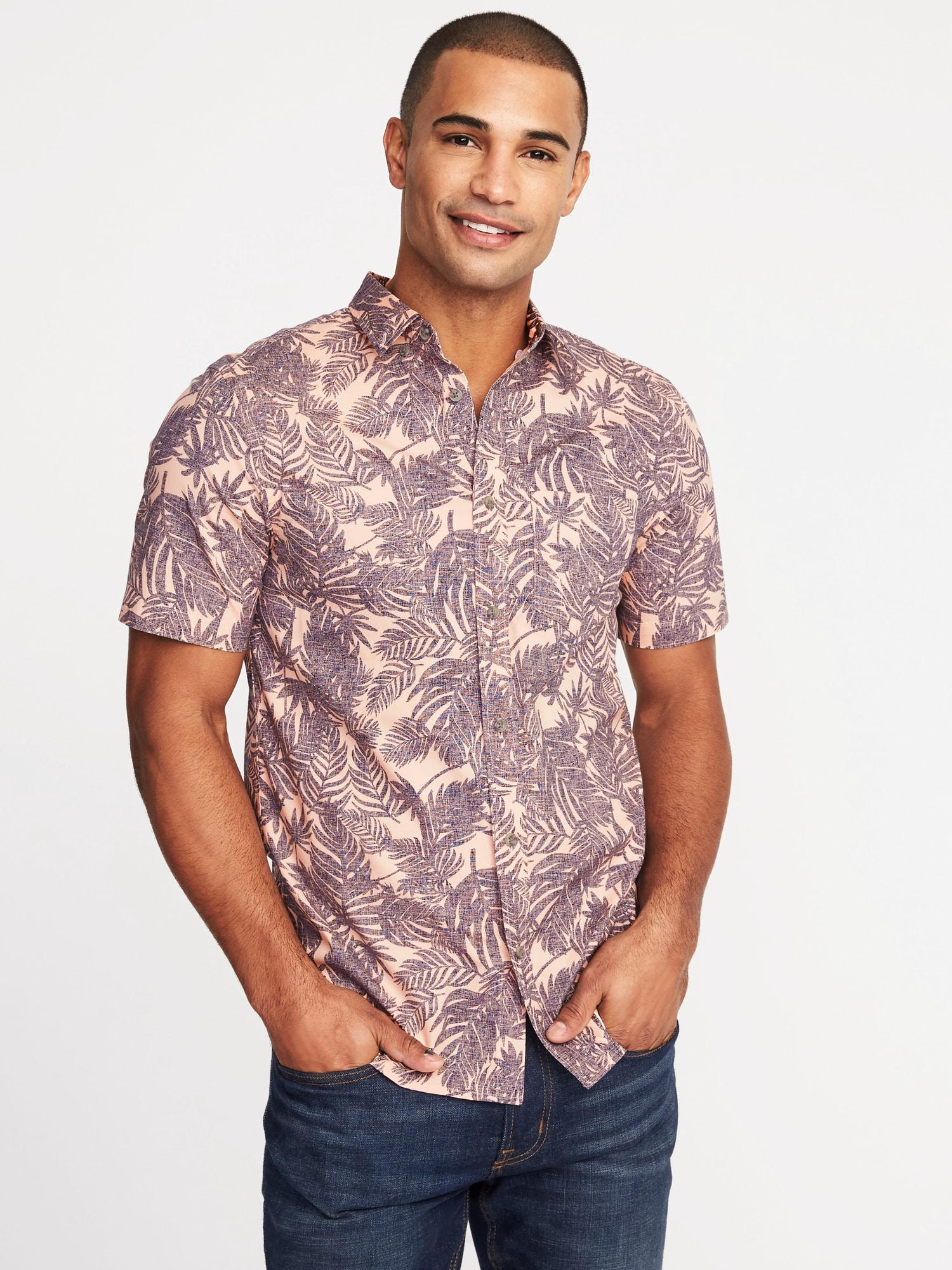 97943113 Old Navy. Men's Pink Slim-fit Built-in Flex Botanical-print Classic Shirt