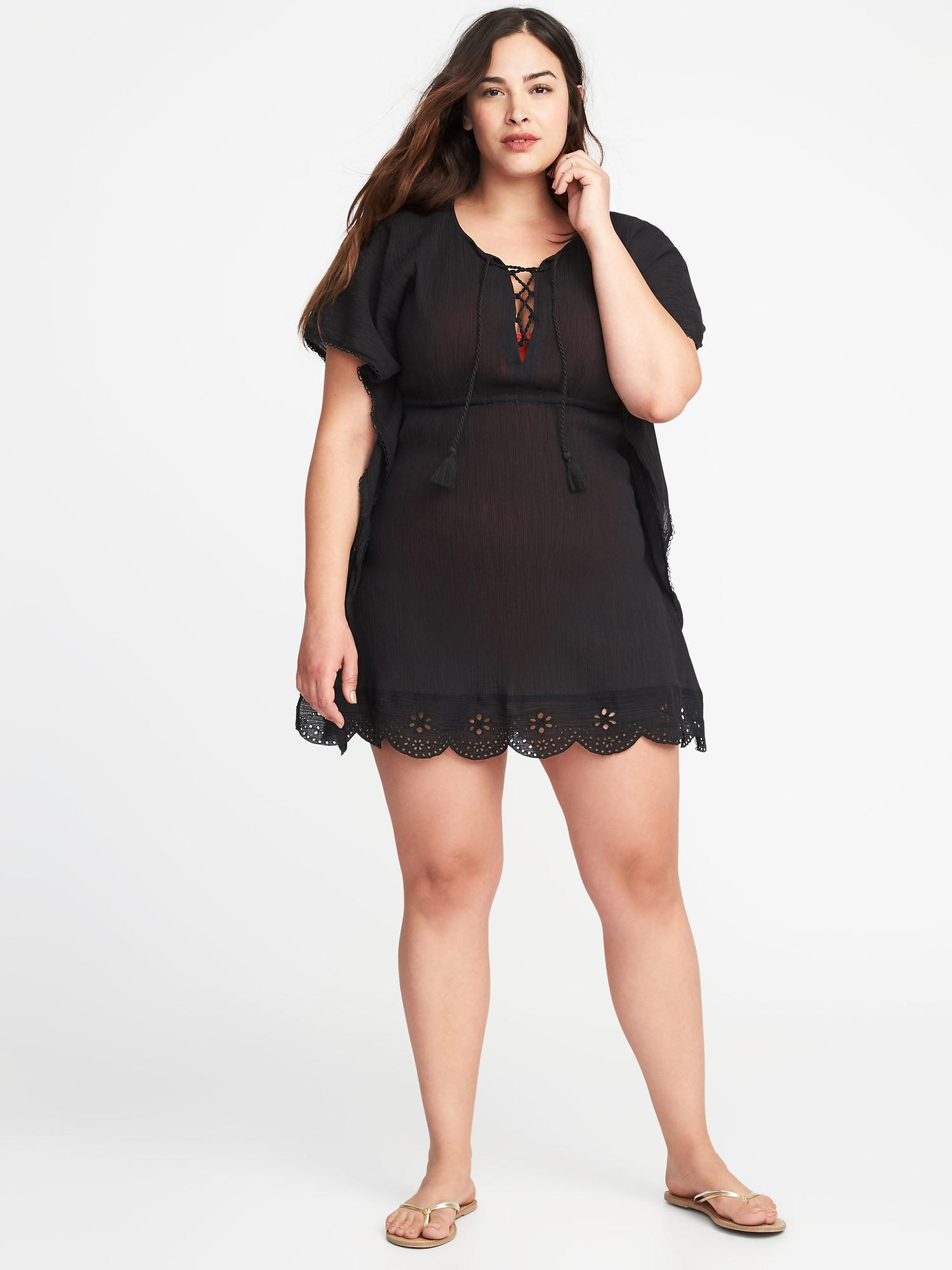 2ceaba6b06 Lyst - Old Navy Plus-size Gauze Swim Cover-up in Black