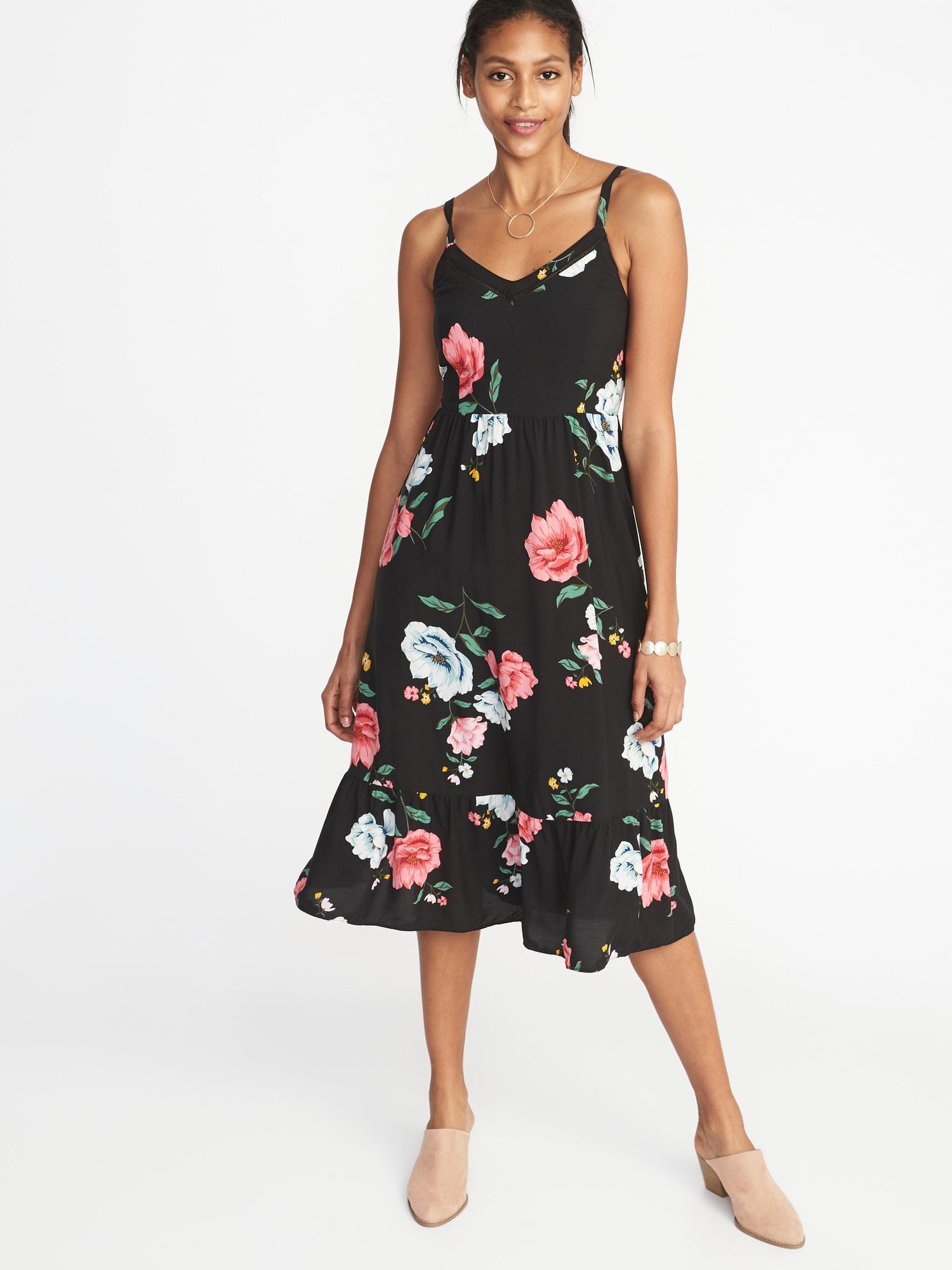 936595f39e1 Lyst - Old Navy Fit   Flare Cami Midi Dress in Black