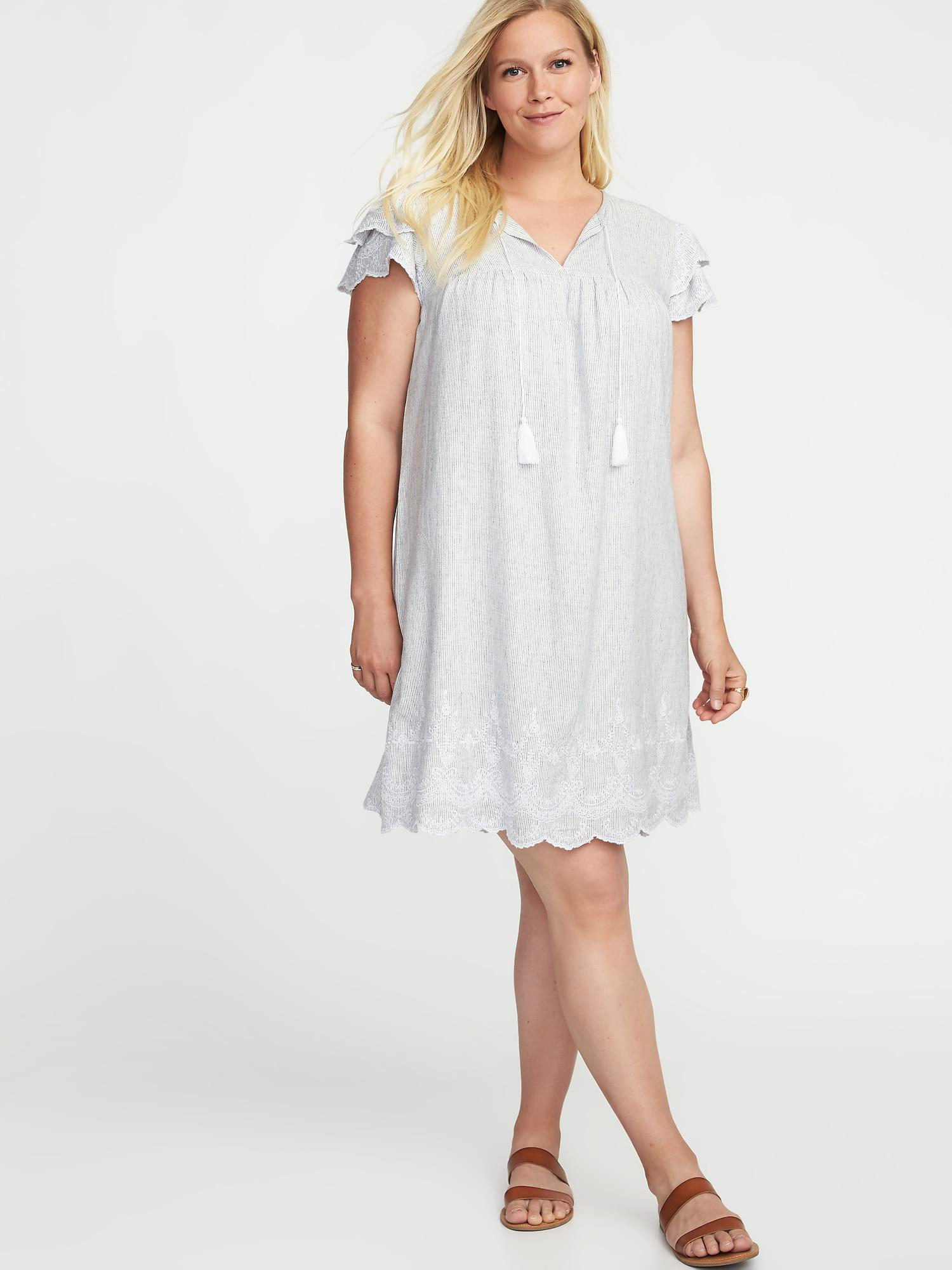 4f08b33a8ae3b Lyst - Old Navy Plus-size Linen-blend Cutwork Swing Dress in White