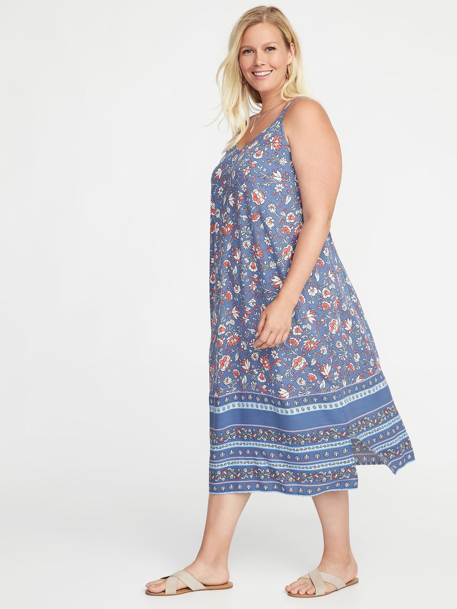 Old Navy Blue Sleeveless Plus-size V-neck Maxi Dress