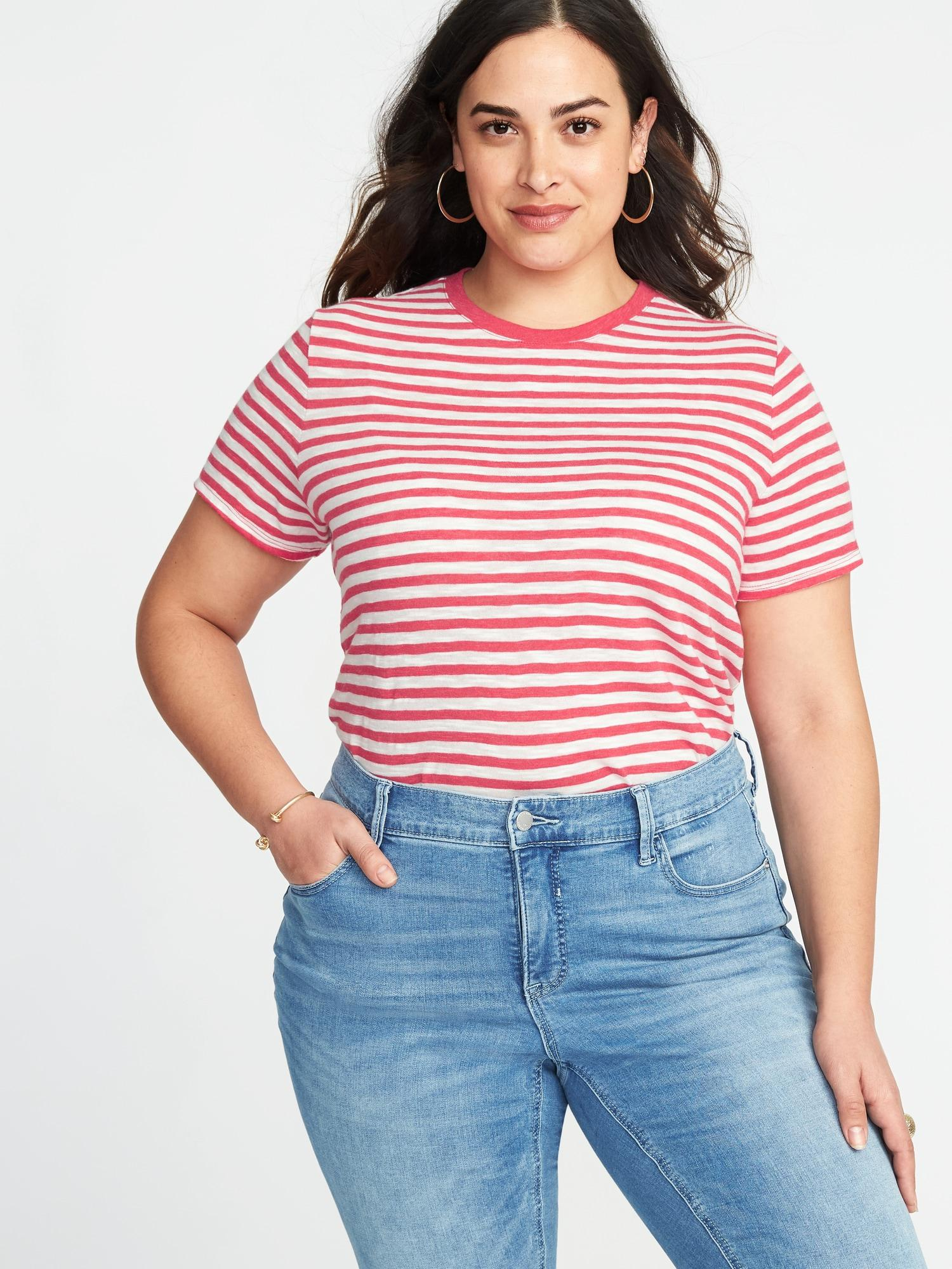 abbbe8b3bf Old Navy Everywear Plus-size Slub-knit Tuck-in Tee in Red - Lyst