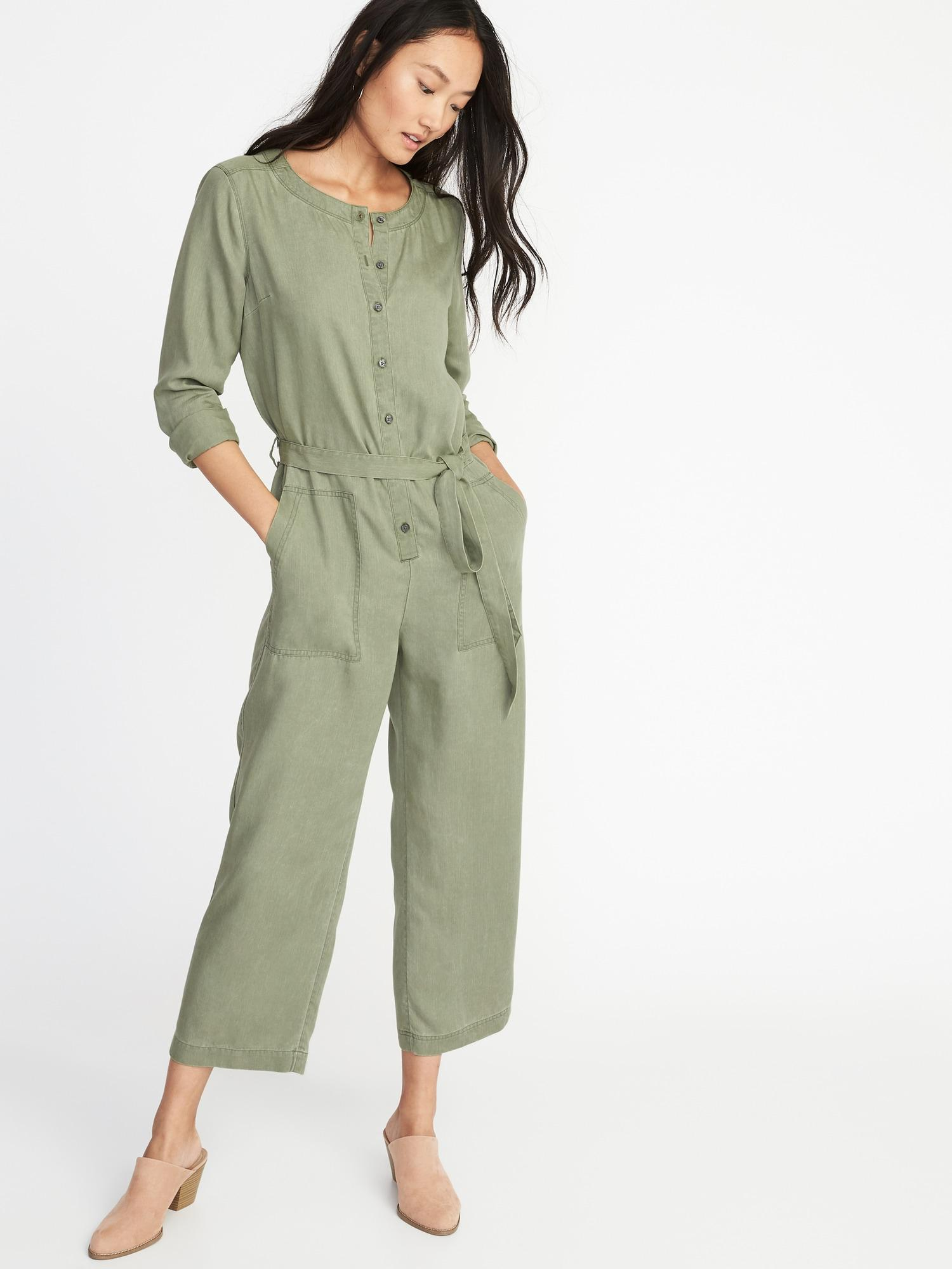 2c9628a2ca1 Lyst - Old Navy Faded-twill Tie-belt Utility Jumpsuit in Green