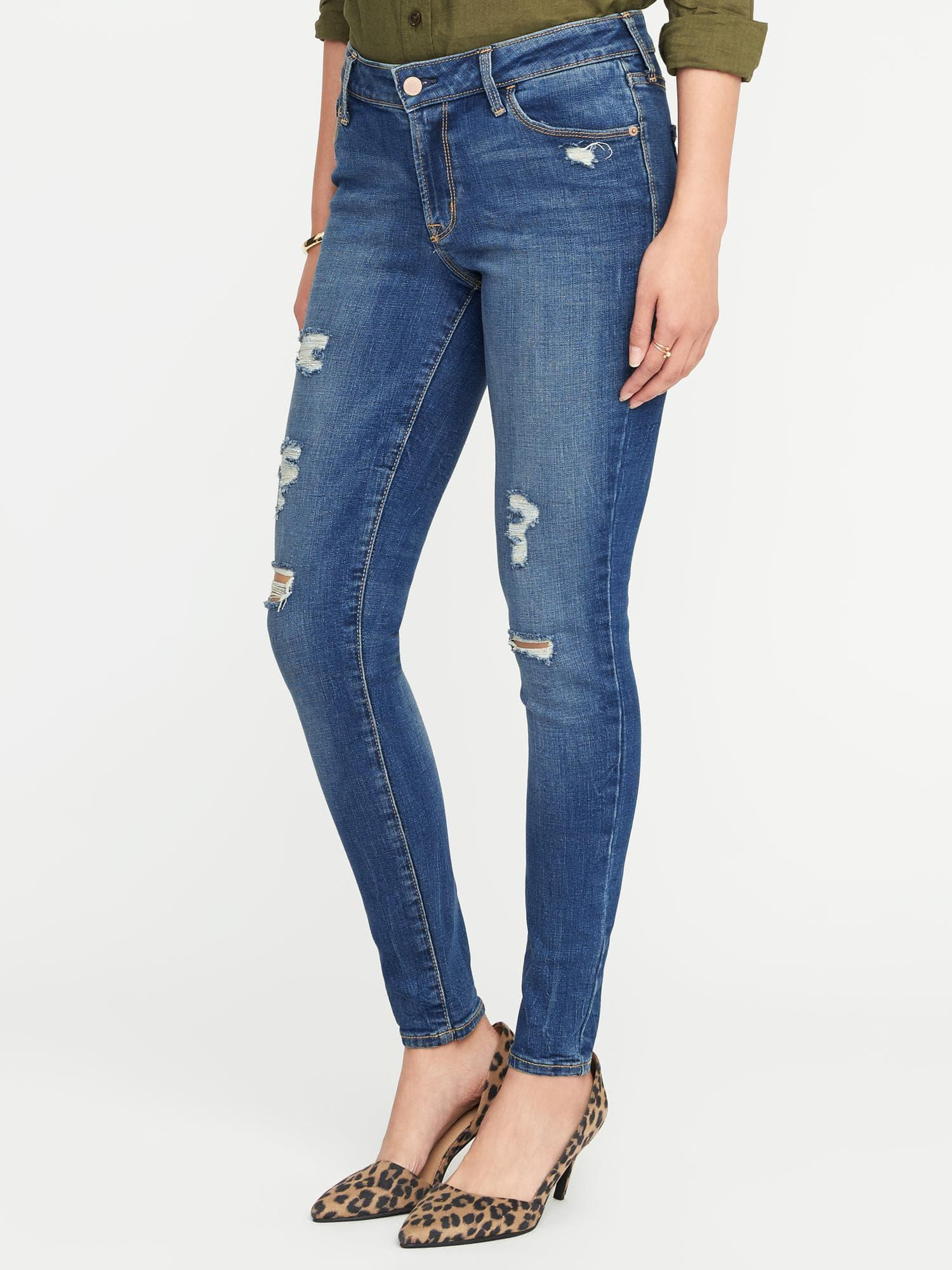 4768f883acc Lyst - Old Navy Mid-rise Distressed Rockstar Super Skinny Jeans in Blue