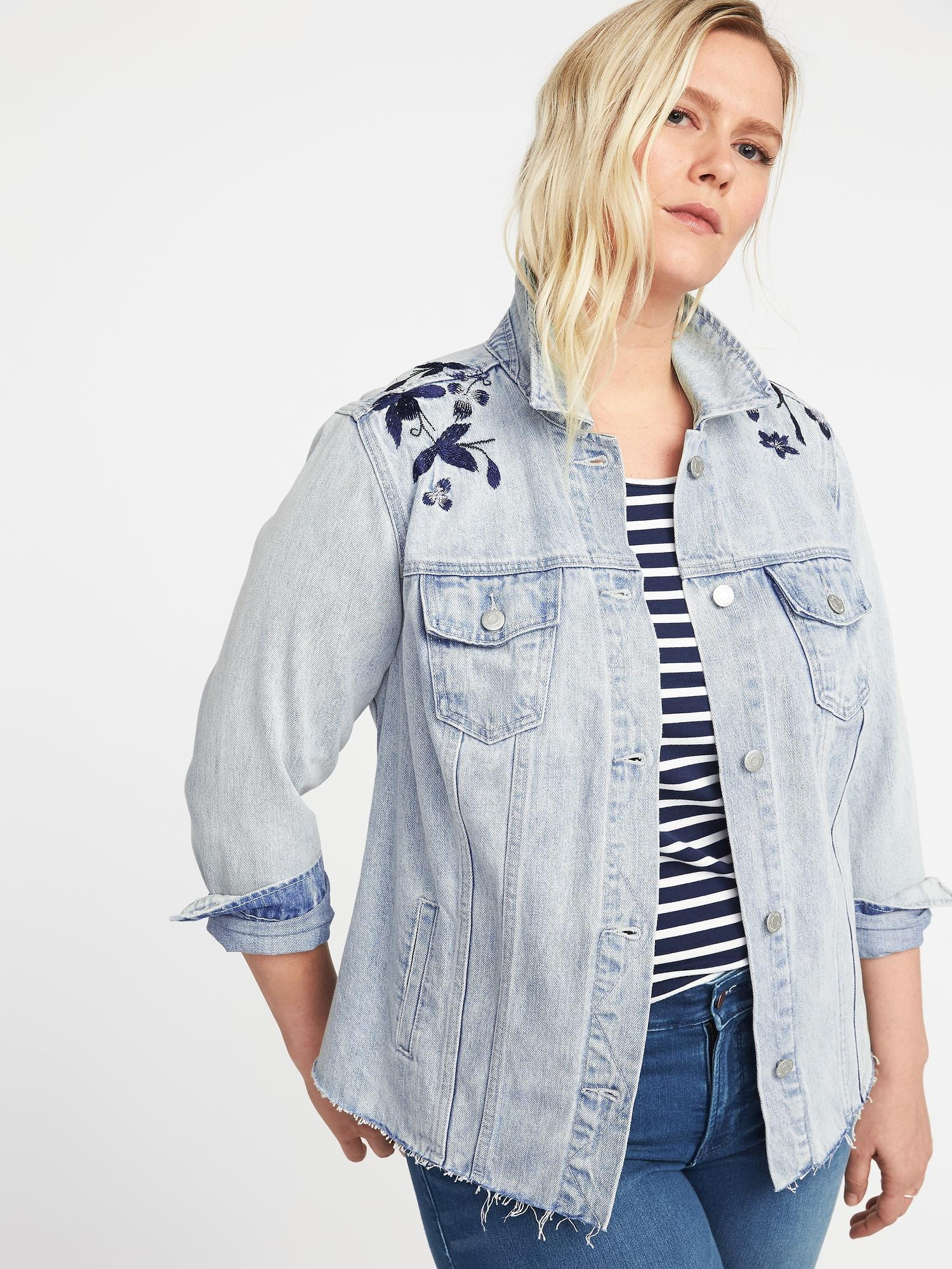 cab7e10c1a5 Lyst - Old Navy Plus-size Embroidered-graphic Denim Jacket in Blue