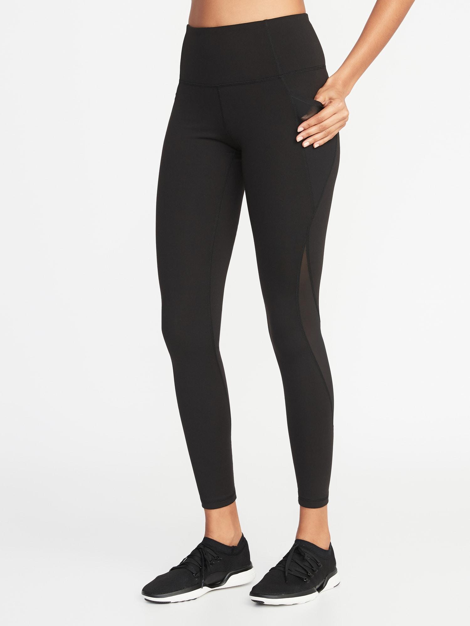 2171d43b20 Old Navy. Women's Black High-rise Elevate Side-pocket Mesh-trim Compression  Leggings
