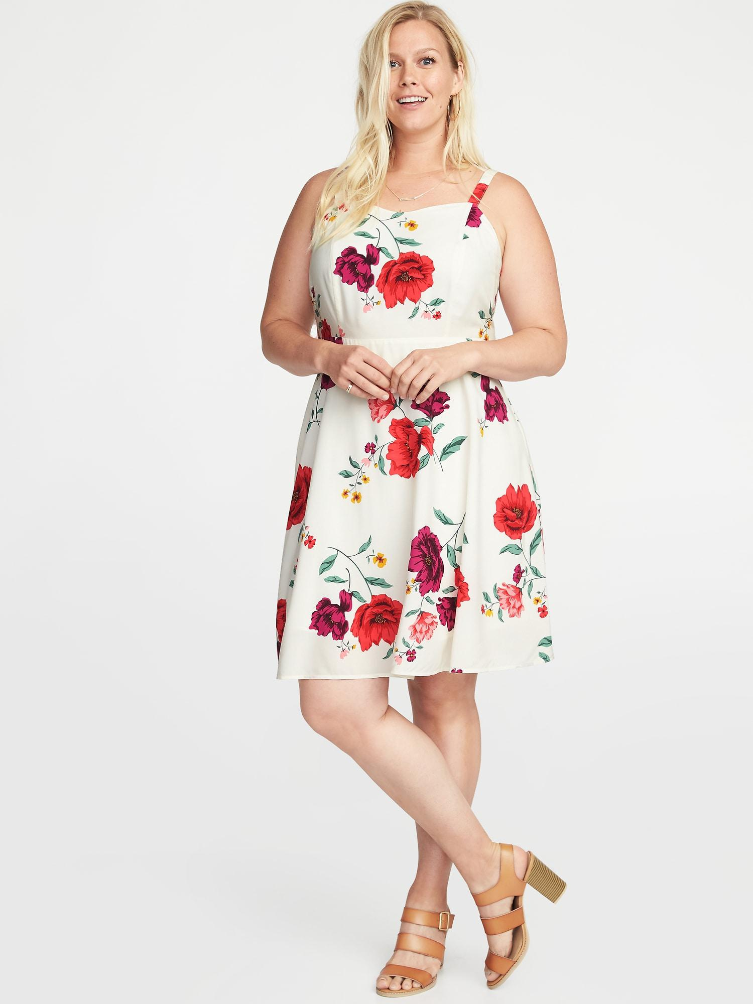 Old Navy Floral-print Fit & Flare Plus-size Cami Dress - Lyst