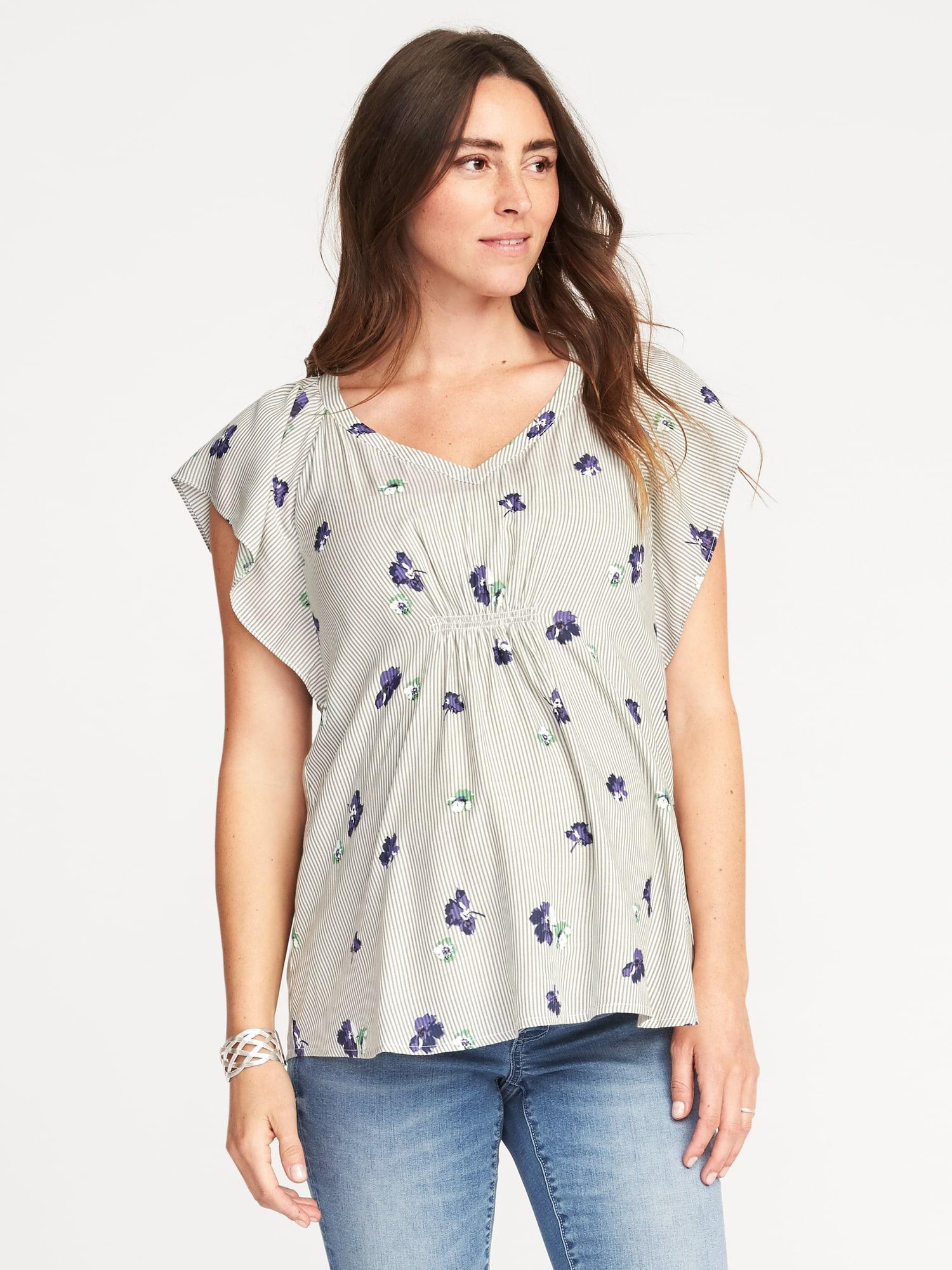 946643903a44a Lyst - Old Navy Maternity Floral-print Flutter-sleeve Blouse in Gray