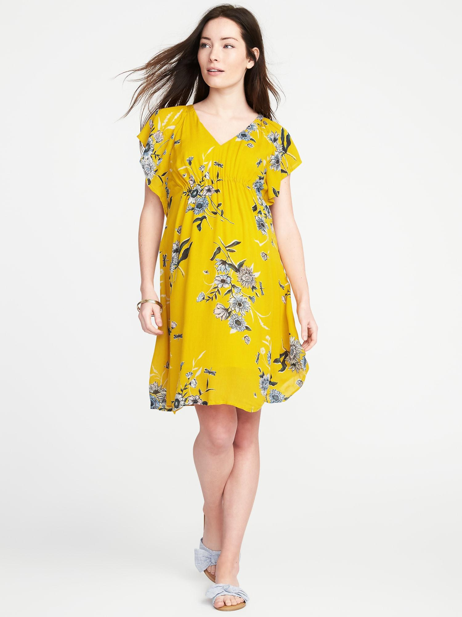 adbe258061ac Lyst - Old Navy Maternity Ruffle-sleeve Shift Dress in Yellow