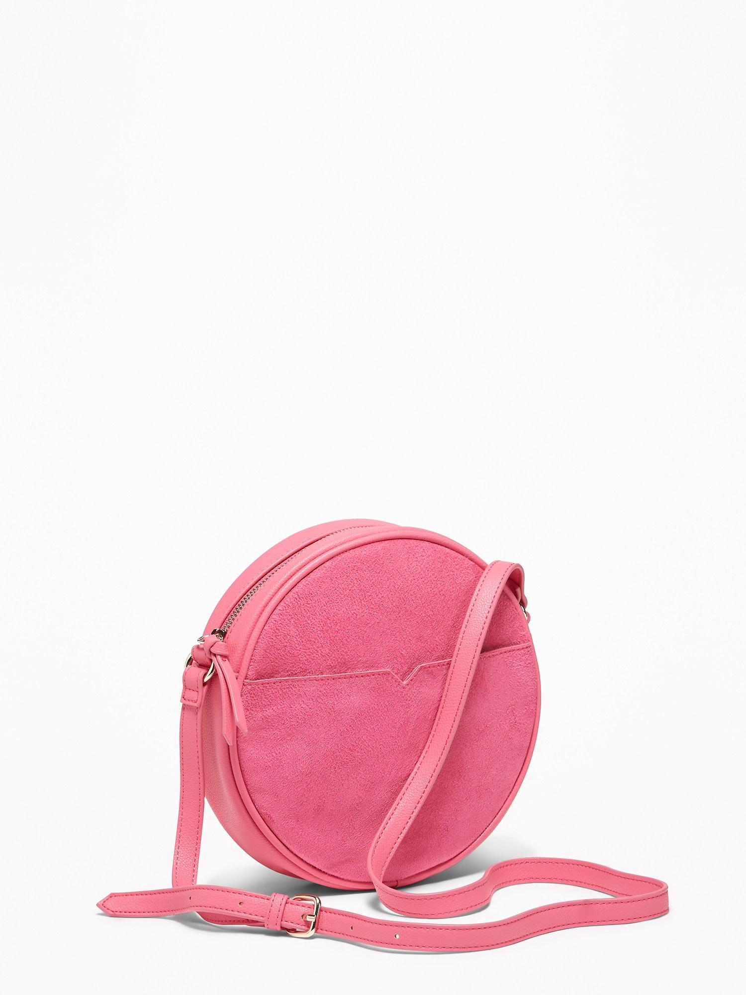 70be866aacee0 Lyst - Old Navy Faux-suede faux-leather Crossbody Circle Bag in Pink