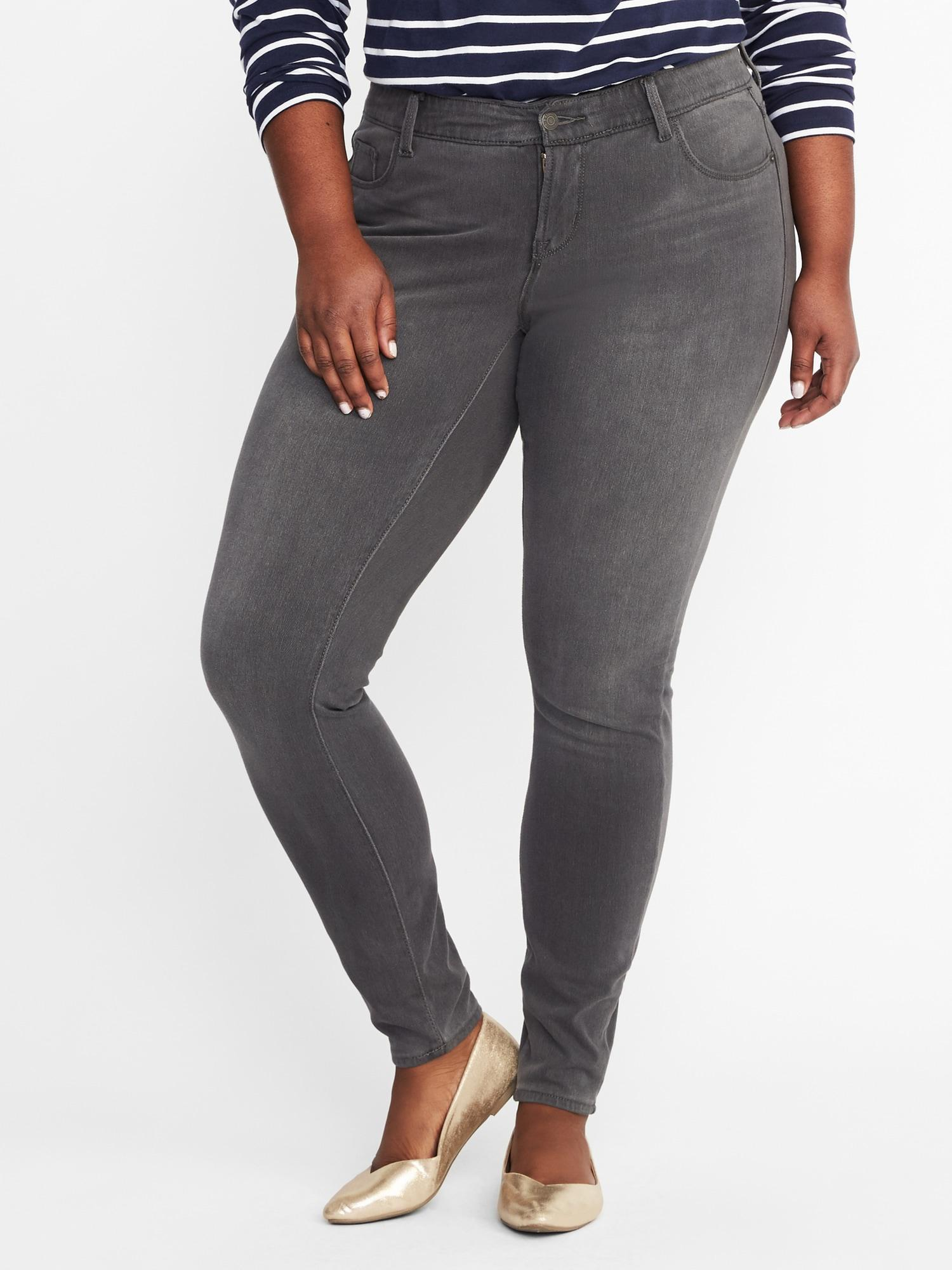 be4a124c865 Old Navy. Women s Gray High-rise Secret-slim Pockets + Waistband Plus-size  Rockstar 24 7 Jeans