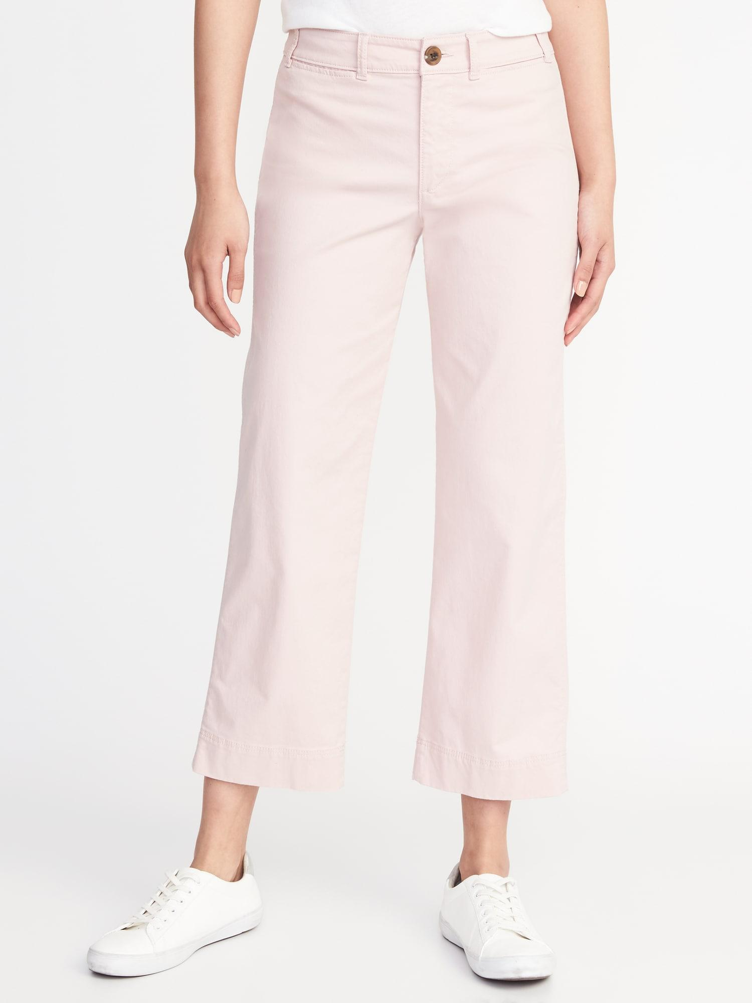 2452a8e73135 Lyst - Old Navy Mid-rise Cropped Wide-leg Chinos in Pink