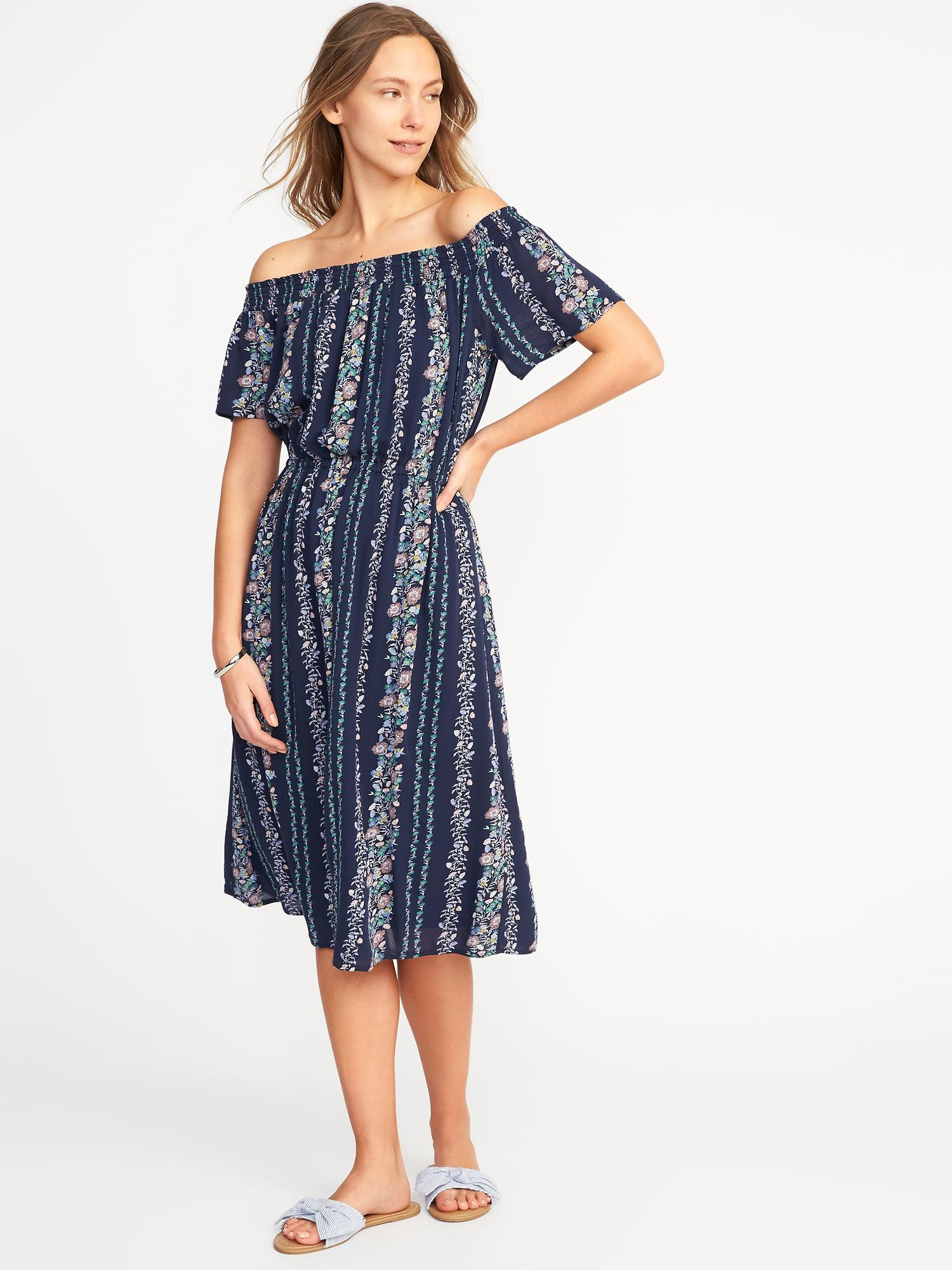 1d04eb90105 Lyst - Old Navy Off-the-shoulder Waist-defined Midi Dress in Blue