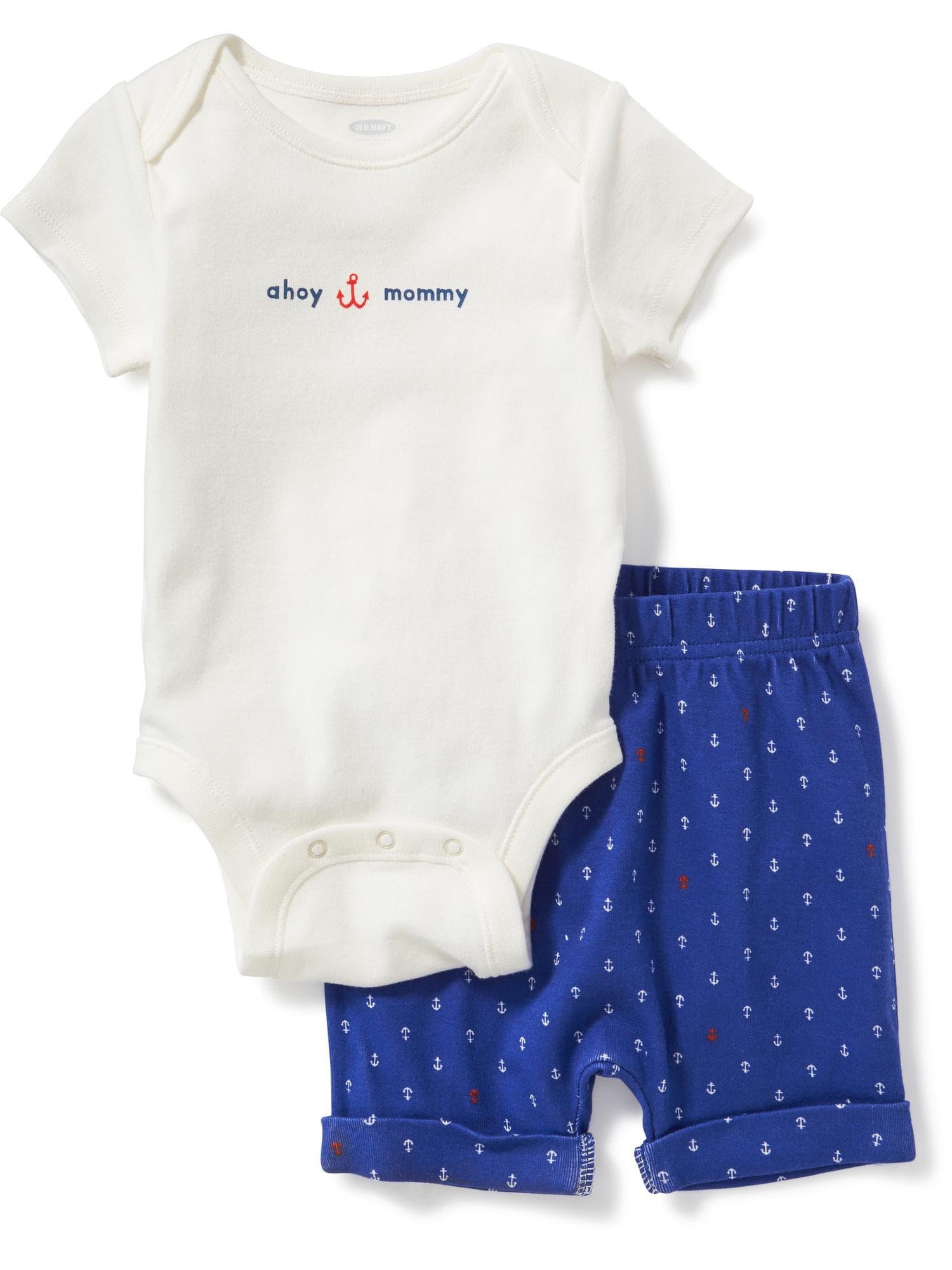 26f966c9d Lyst - Old Navy 2-piece Graphic Bodysuit And Shorts Set in White
