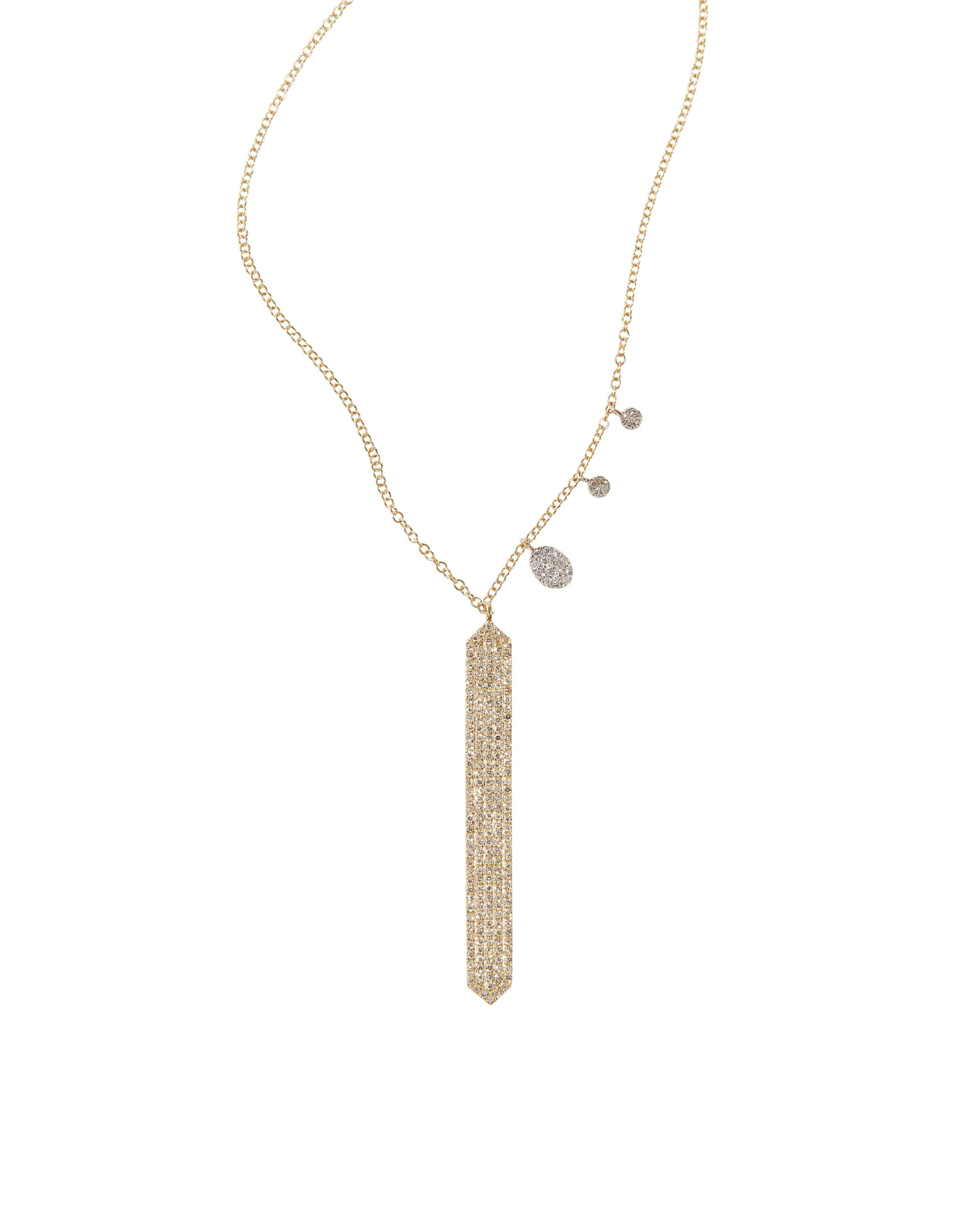 lyst women jewelry with metallic necklace in meira diamonds bar t gold pendant s