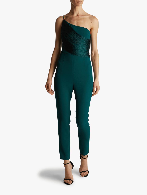 8a35d5cb8d3 Lyst - Cushnie et Ochs One-shoulder Fringe Jumpsuit in Green