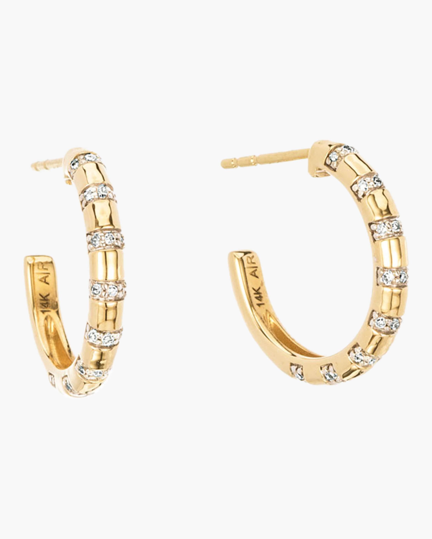 d3cdf4250 Lyst - Adina Reyter Medium Diamond Stripe Huggie Earrings in Metallic
