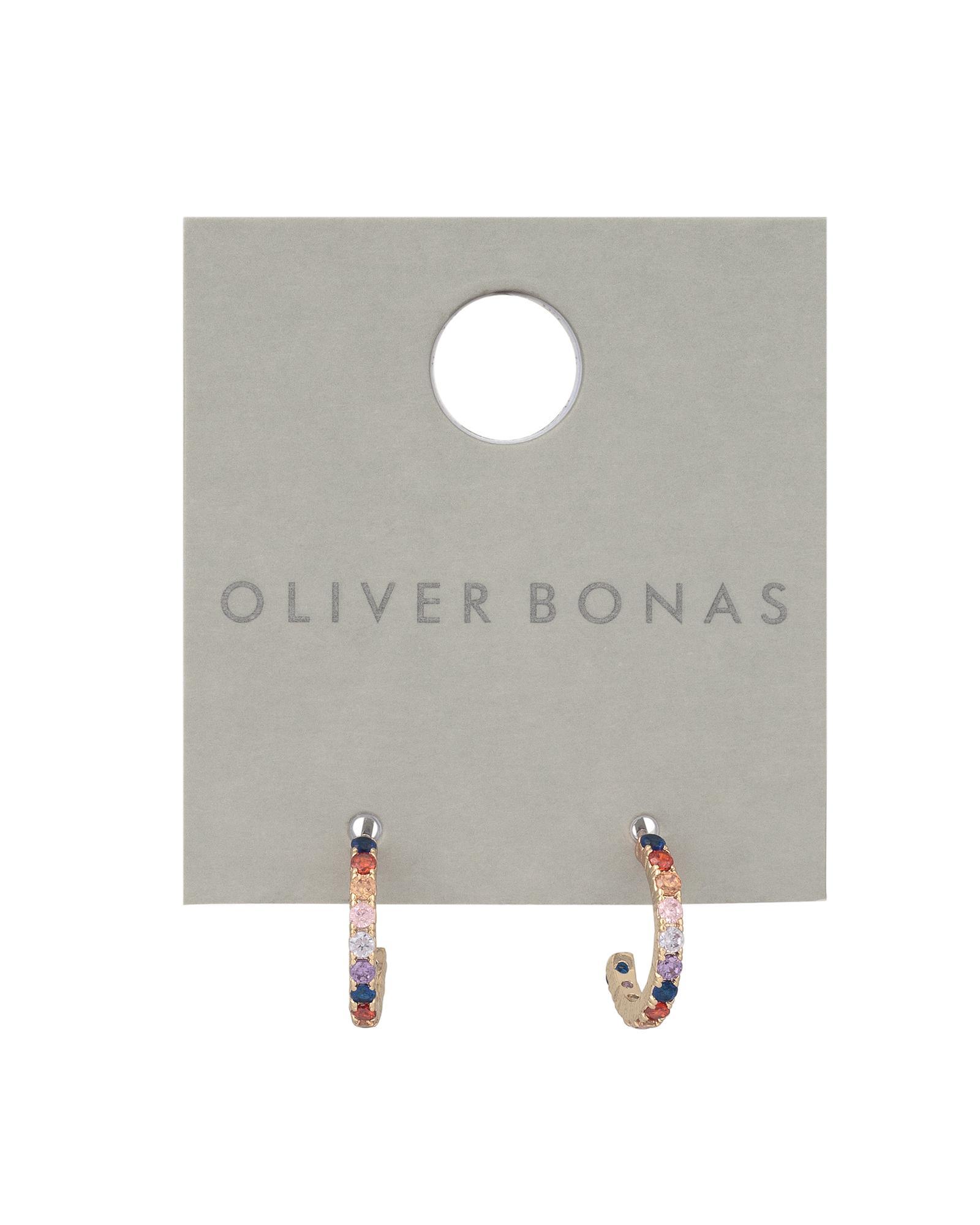 e0fca2379 Oliver Bonas Reeve Rainbow Cubic Zirconia Inlay Hoop Earrings in Metallic -  Lyst