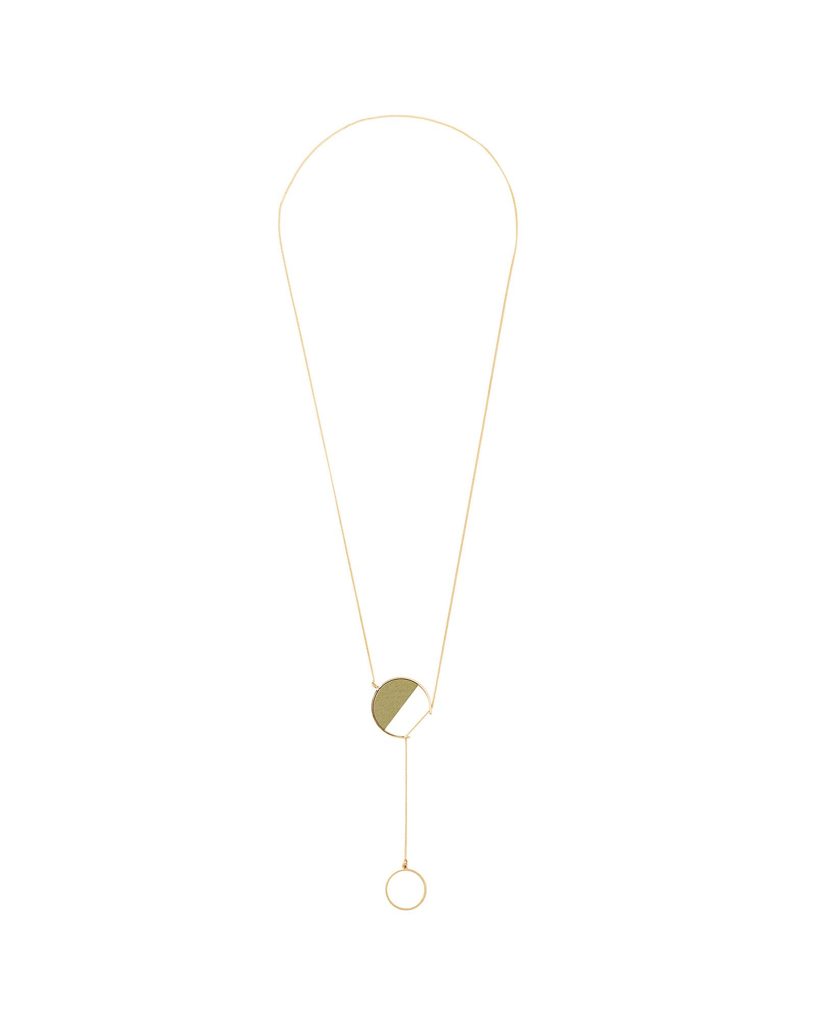 15829d2a2706 Oliver Bonas Vahni Green Wooden Semi Circle Lariat Necklace in Metallic -  Lyst