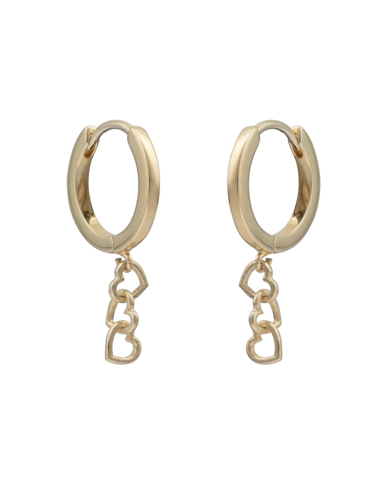61368e742 Oliver Bonas. Women's Metallic Lovable Interlinked Hearts Gold Plated  Huggie Earrings