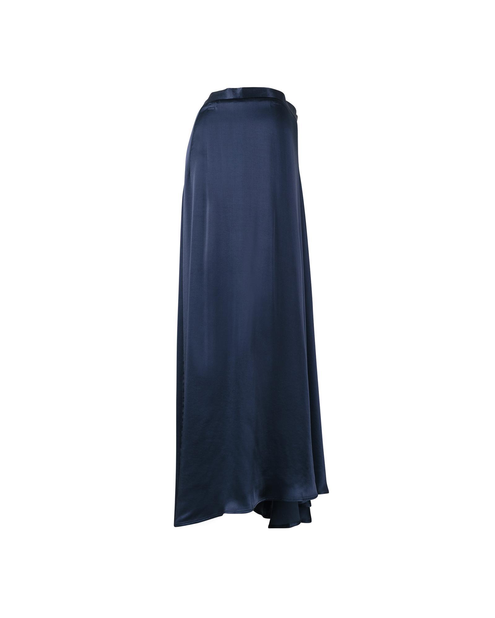 79ac081674e4 Oliver Bonas Luna Navy Satin Asymmetric Wrap Skirt in Blue - Lyst