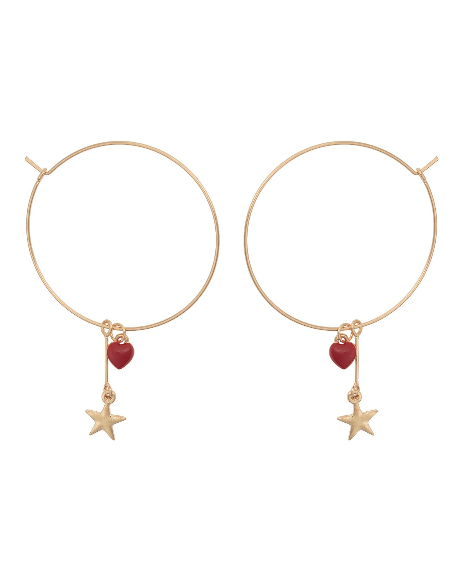 4f643cdb3 Oliver Bonas Hermia Heart & Star Charm Hoop Earrings in Metallic - Lyst