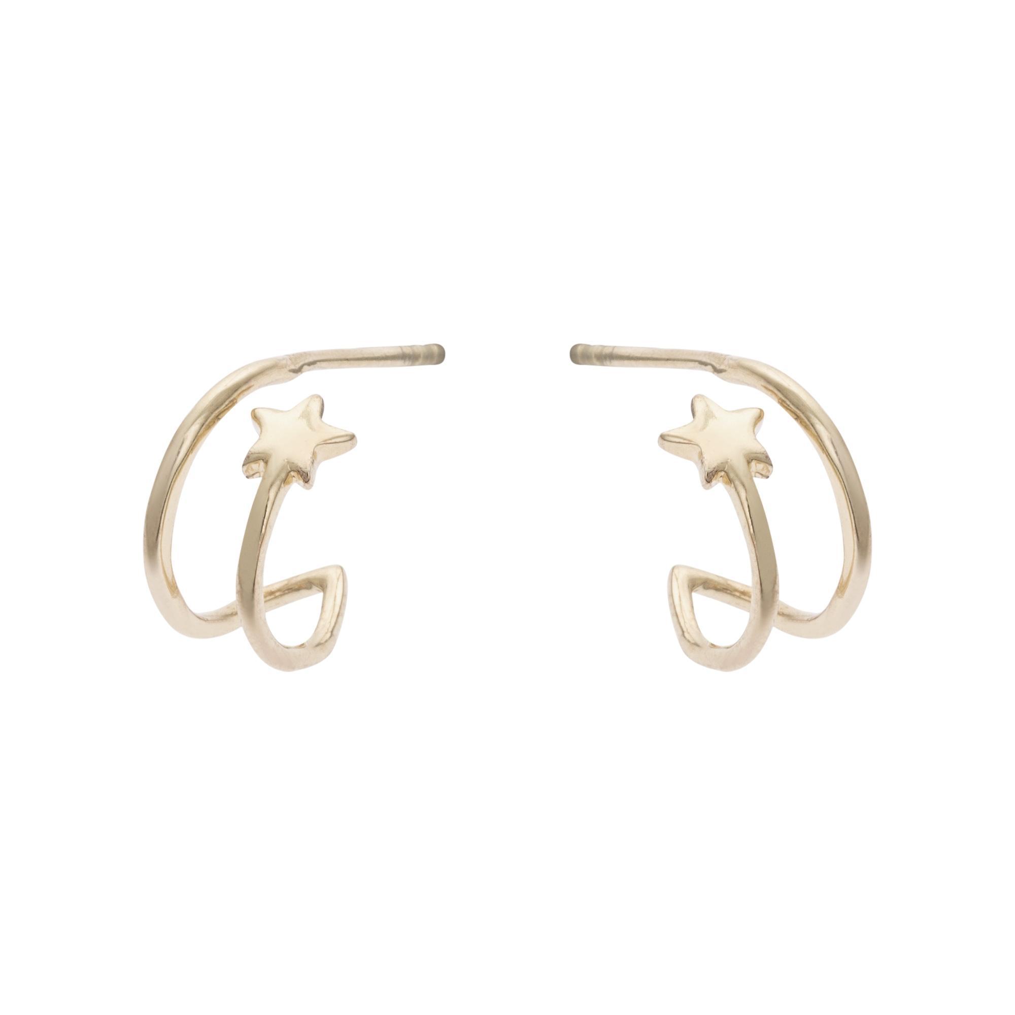 e7396c504 Lyst - Oliver Bonas Linear Star Motif Hoop Earrings in Metallic