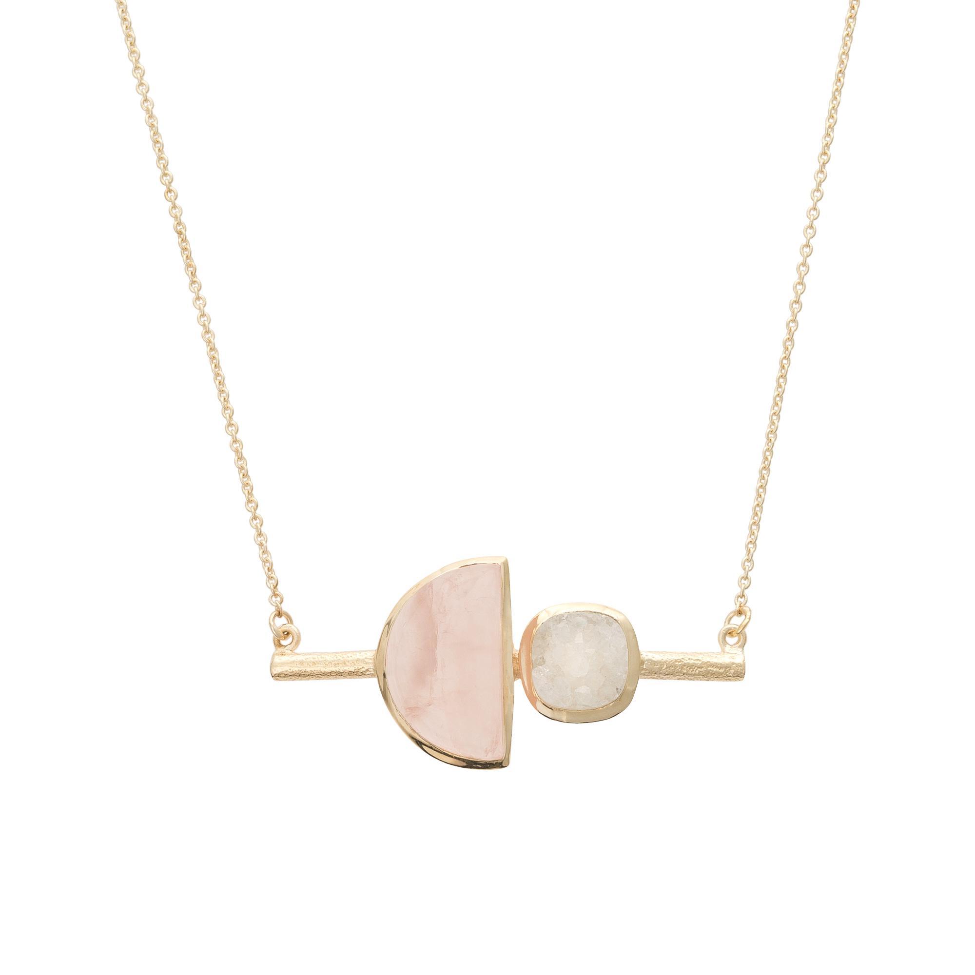 Lyst - Oliver Bonas Margo Semi Circle Stone & Druzy Necklace in Metallic