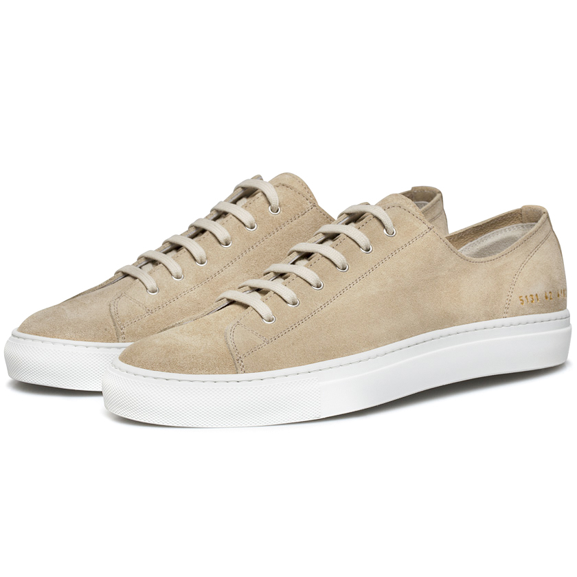 common projects off white suede tournament low sneakers in natural for men lyst. Black Bedroom Furniture Sets. Home Design Ideas