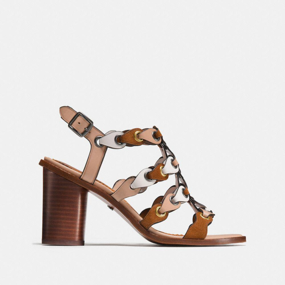 8167ff88122 COACH - Brown Mid Heel Sandal With Link - Lyst. View fullscreen