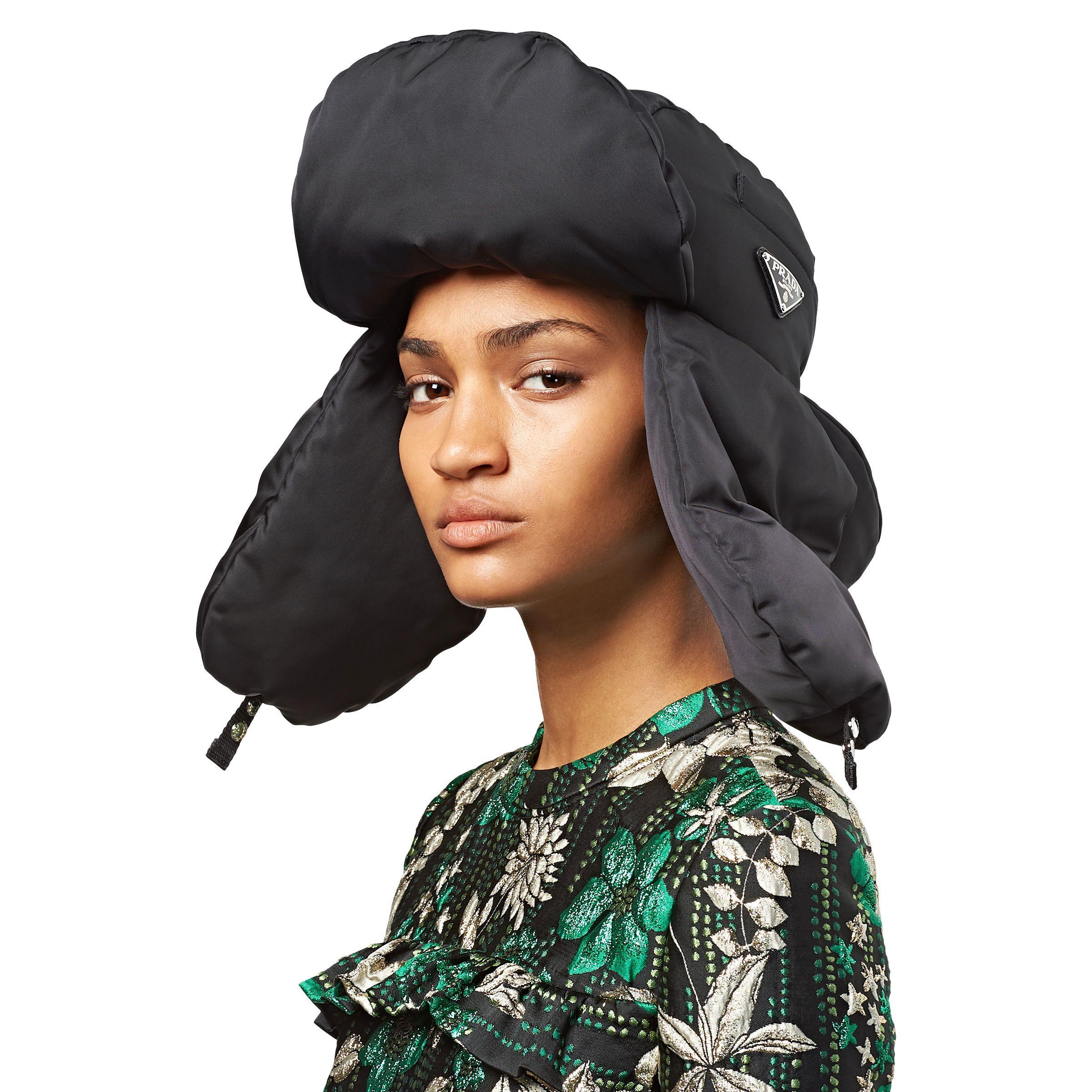 Lyst - Prada Padded Trapper Hat in Black 6267c0fa1d3f