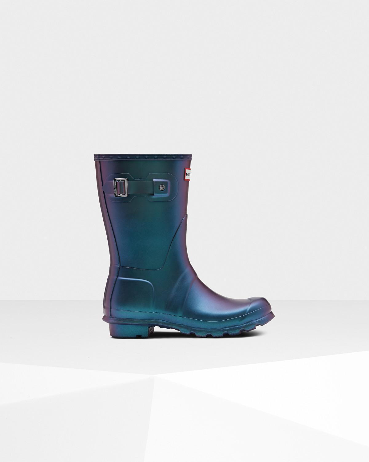 a465e685e00 Lyst - HUNTER Women s Original Nebula Short Rain Boots in Blue
