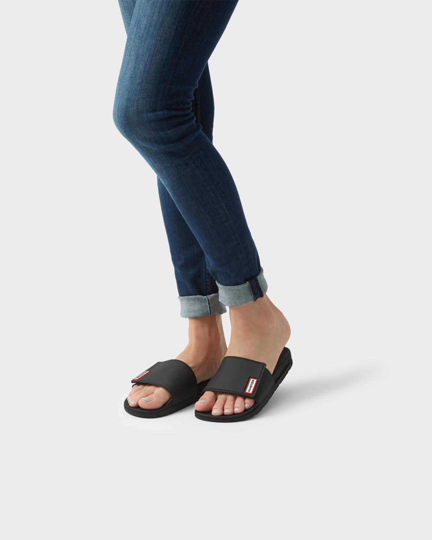 eb3e501d39789c Lyst - HUNTER Women s Original Adjustable Slides in Black - Save 38%