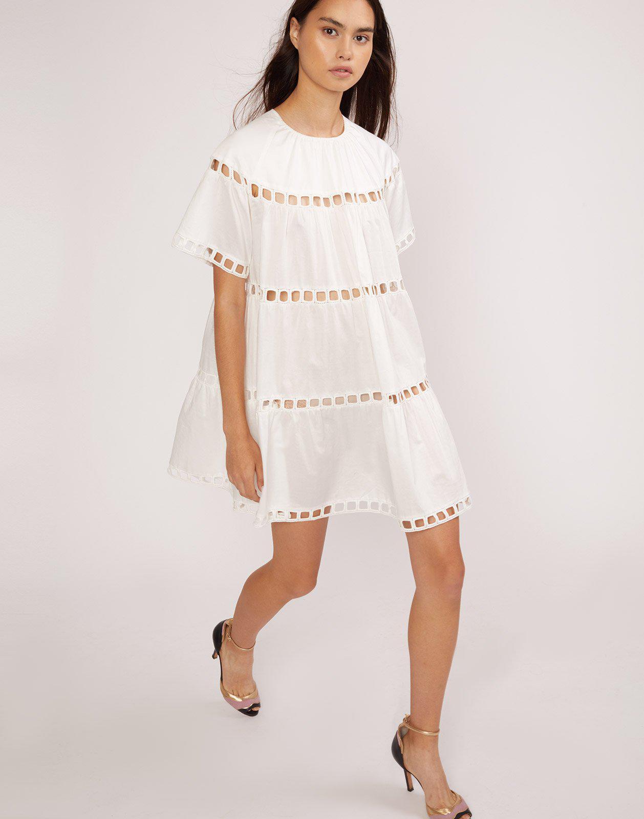 b5c254e56d Lyst - Cynthia Rowley White Postcard Eyelet Dress in White