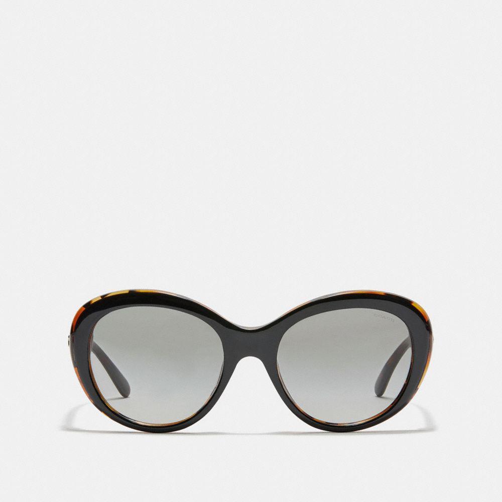 9808c82622 COACH - Black Beveled Edge Oval Sunglasses - Lyst. View fullscreen