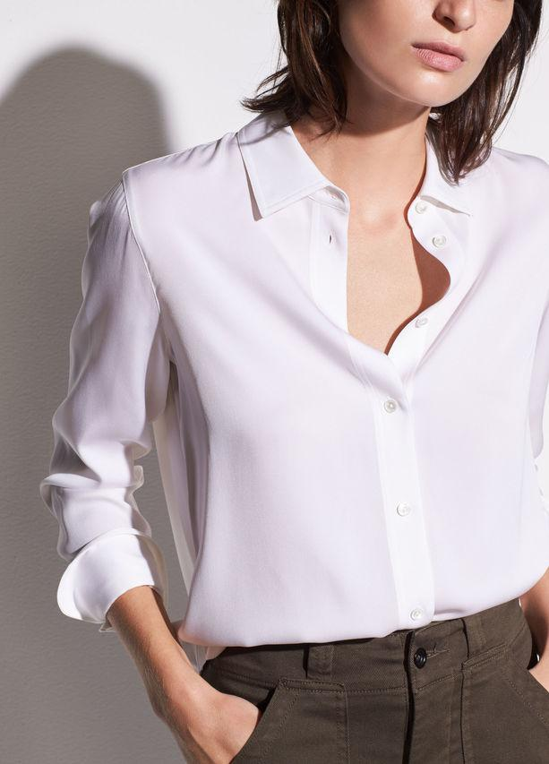 628722a13508a Lyst - Vince Slim Fitted Stretch-silk Blouse in White