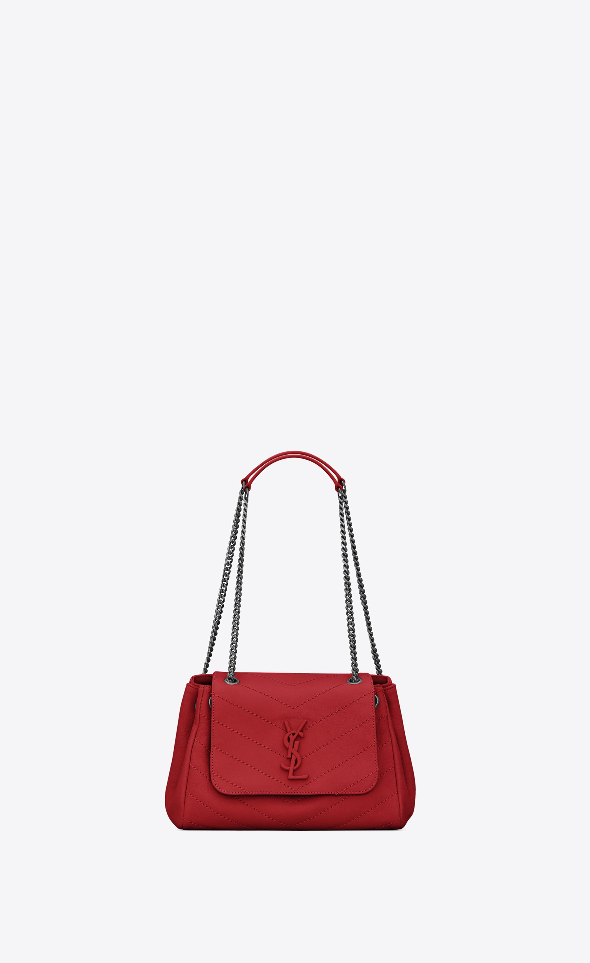 dfc69b475647 Lyst - Saint Laurent Nolita Small Chain Bag in Red