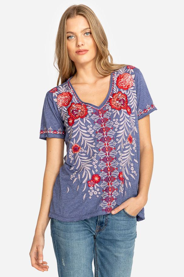 ccd7c358819 Johnny Was. Women s Blue Maya Everyday Tee.  138 From Orchard Mile