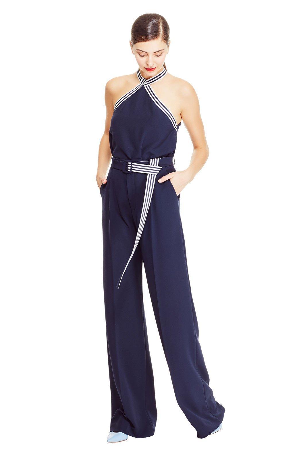 a2f75d55d01 Lyst - Lela Rose Fluid Crêpe Belted Wide Leg Trouser in Blue
