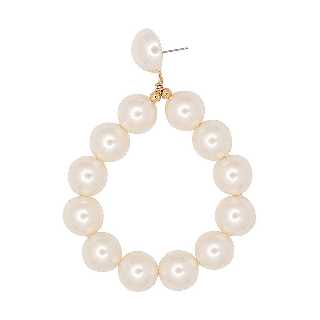 3d148510b Kenneth Jay Lane - Metallic Gold And White Pearl Ball Hoop Pierced Earrings  - Lyst. View fullscreen