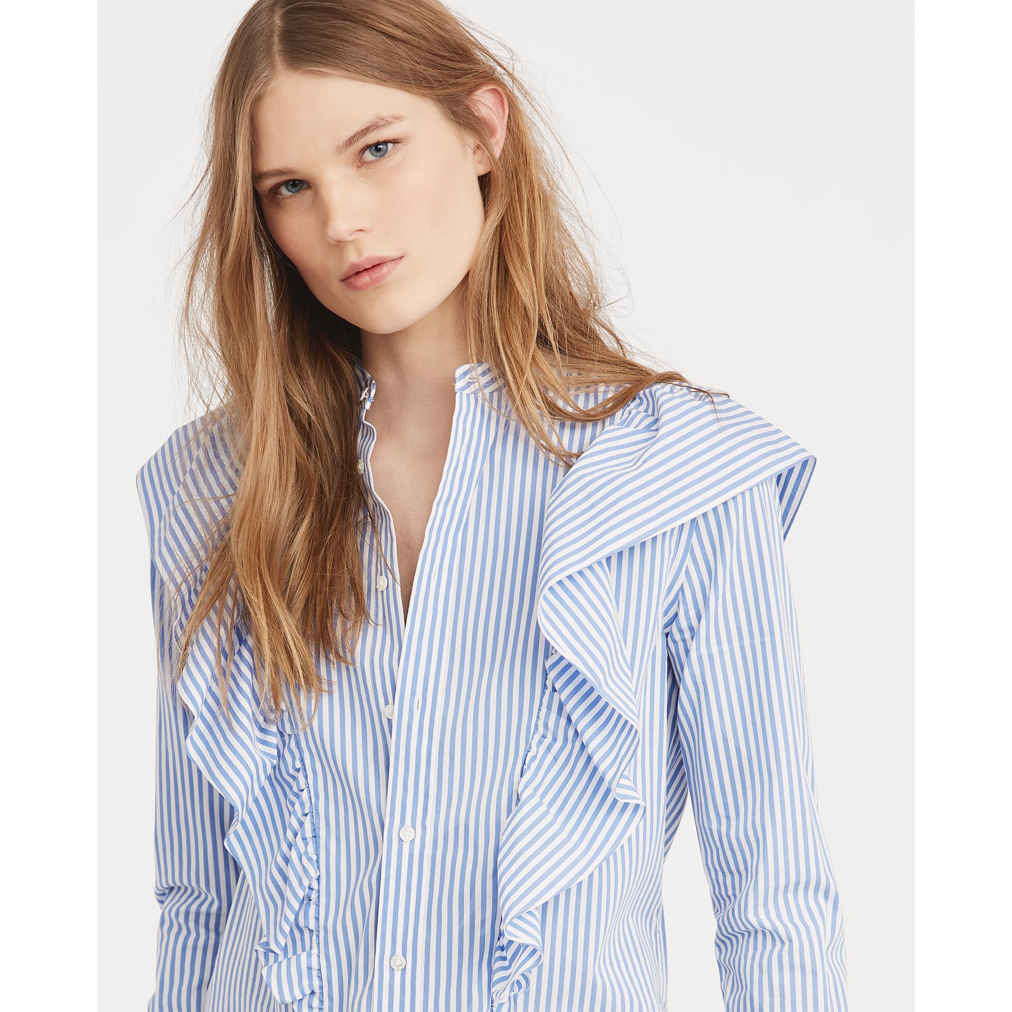 d9255cd0476657 Lyst - Polo Ralph Lauren Striped Ruffled Button-down in Blue