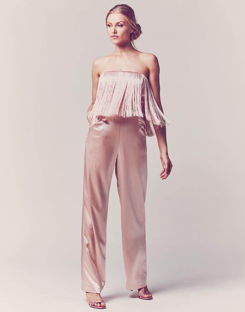 5de0966e221b Lyst - MESTIZA NEW YORK Melissa Fringe Jumpsuit in Pink